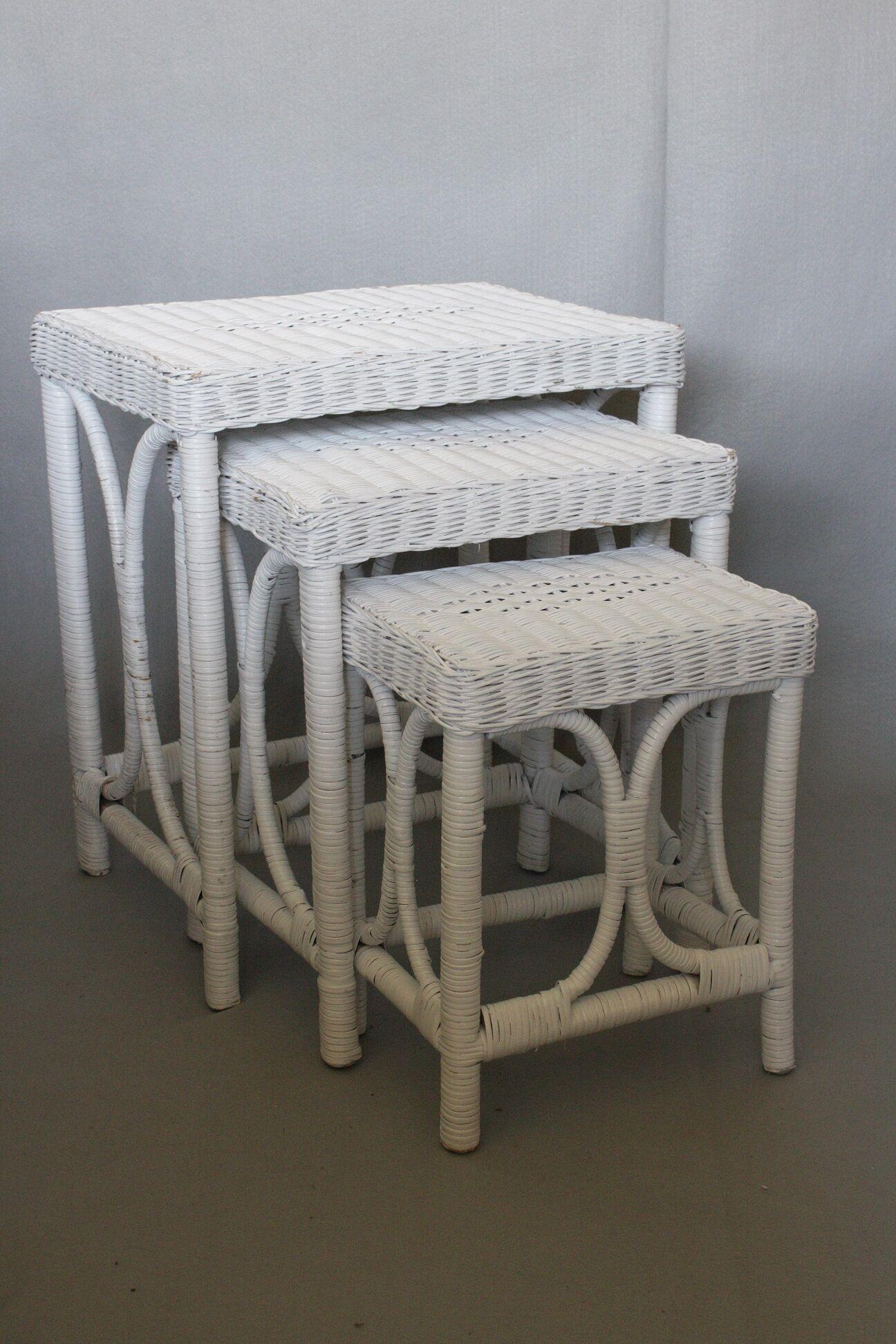 Svetlana Wicker 3 Piece Nesting Tables Color: White