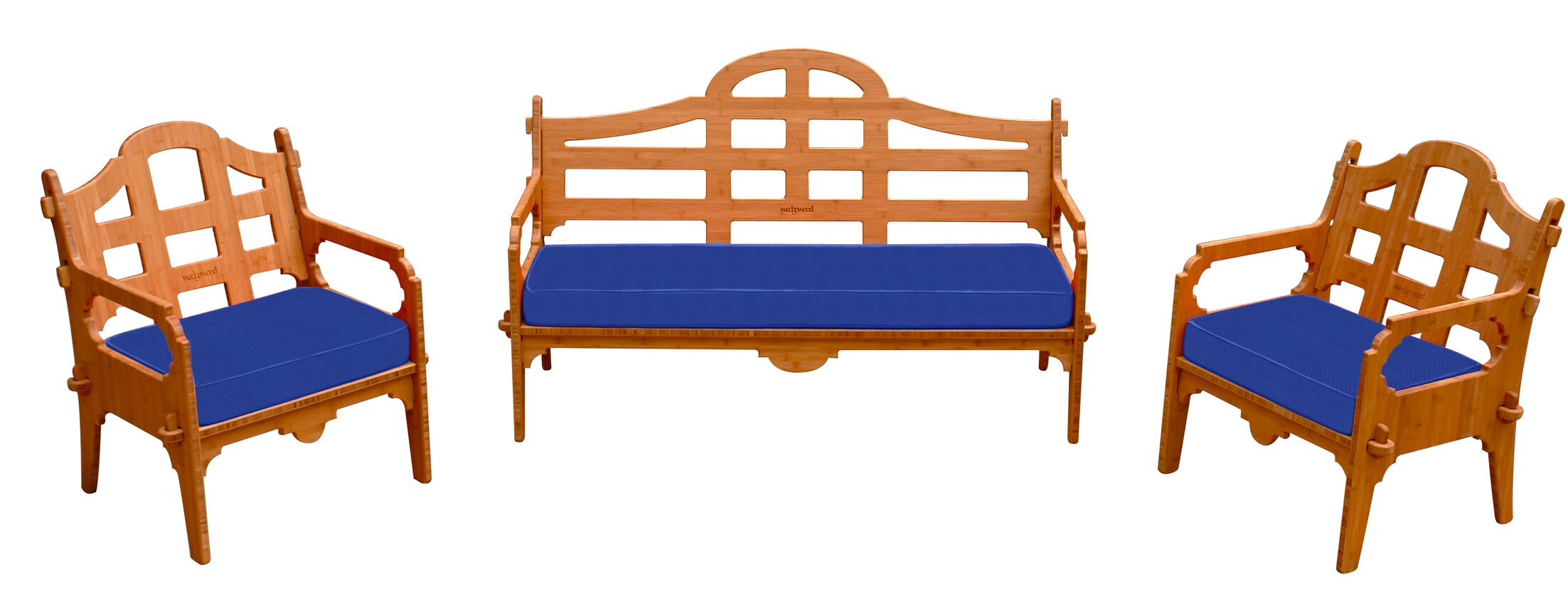Burliegh 3 Piece Sunbrella Sofa Set with Cushions Fabric: Blue