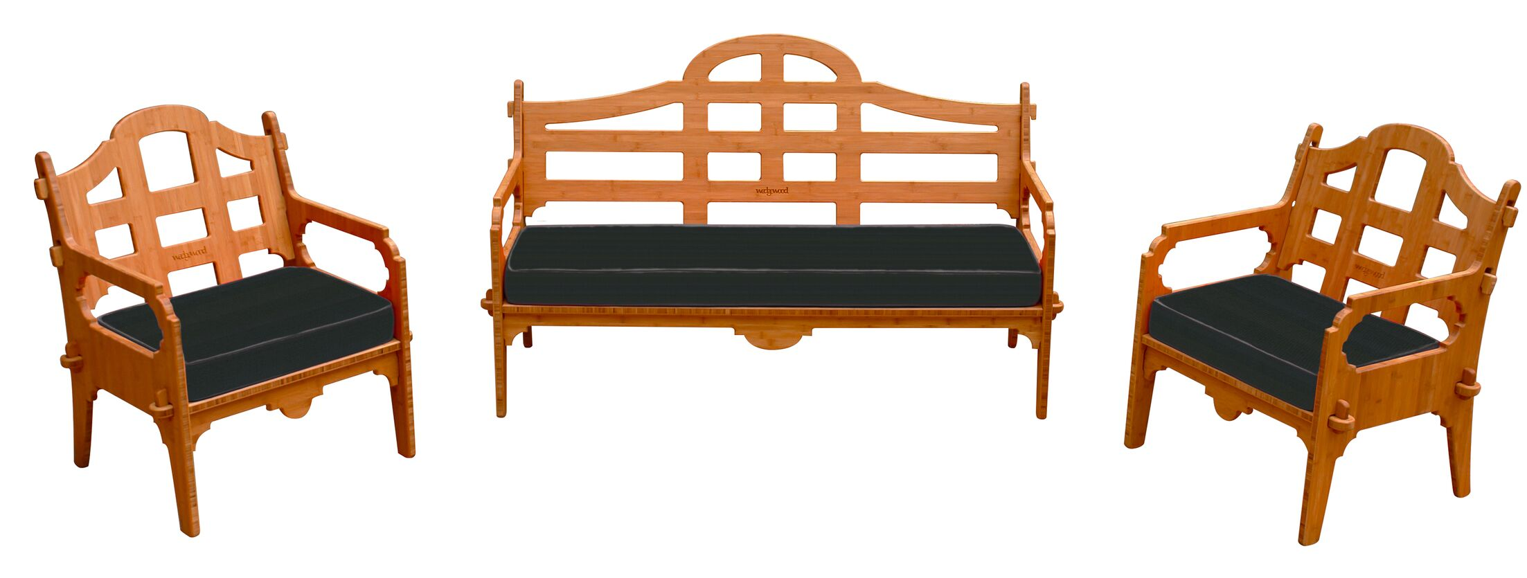 Burliegh 3 Piece Sunbrella Sofa Set with Cushions Fabric: Black