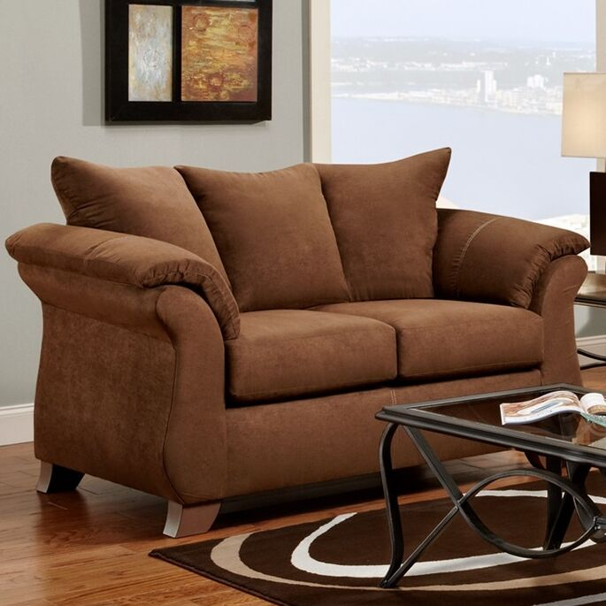 Norris Loveseat Upholstery: Chocolate