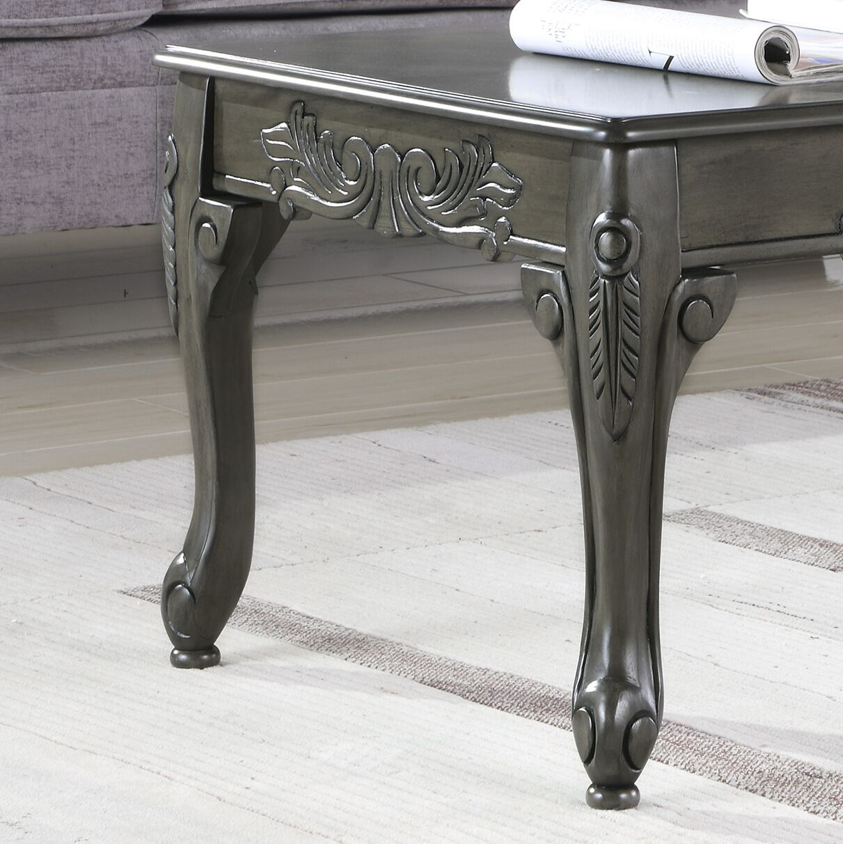 Longoria Traditional Ornate Detailing Wood Coffee Table Color: Gray