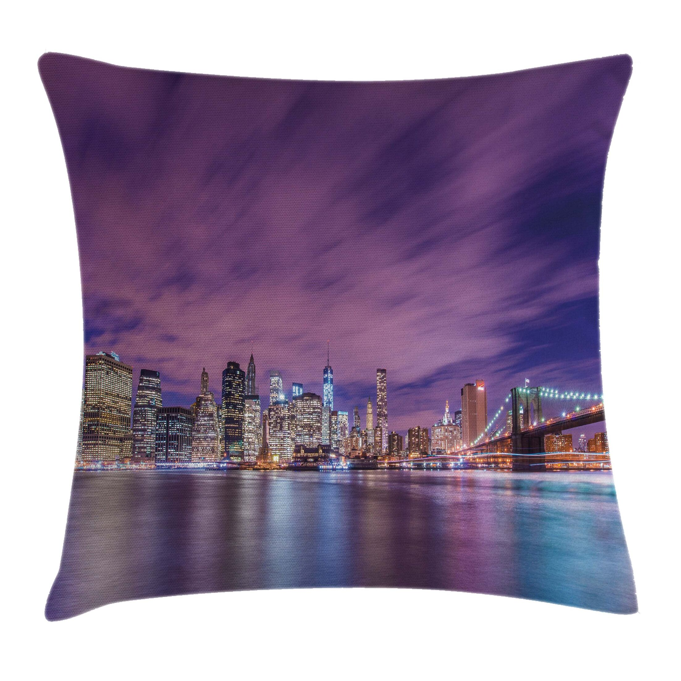 New York City Skyline Square Pillow Cover Size: 16