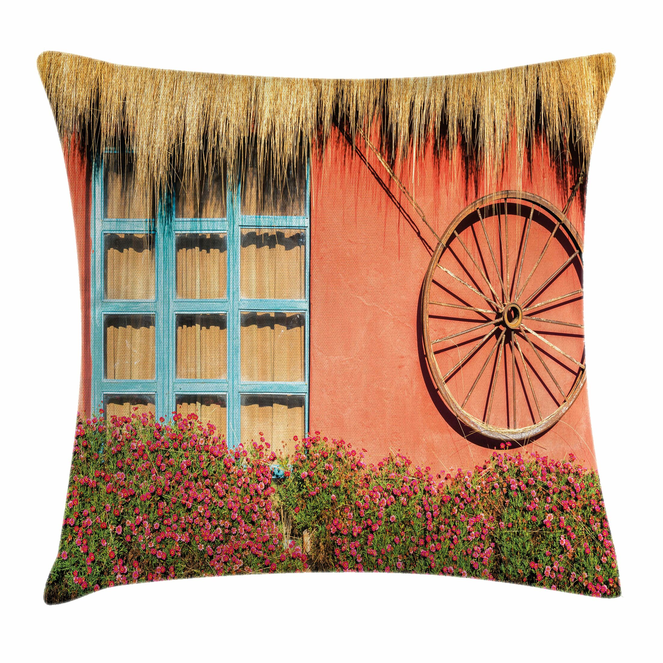 Wheel Country House Wall Square Pillow Cover Size: 24