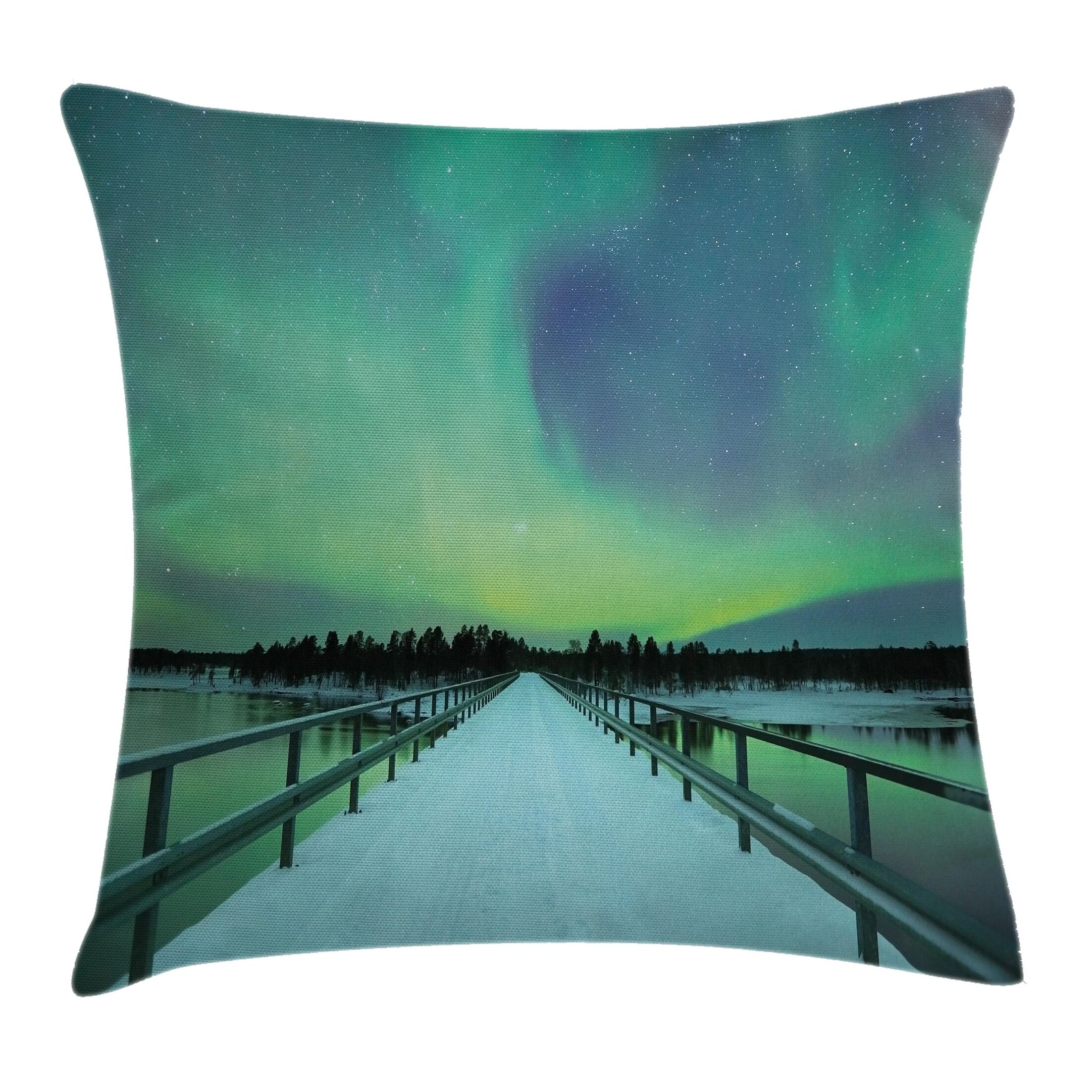 Bridge Snowy Arctic Cushion Pillow Cover Size: 24