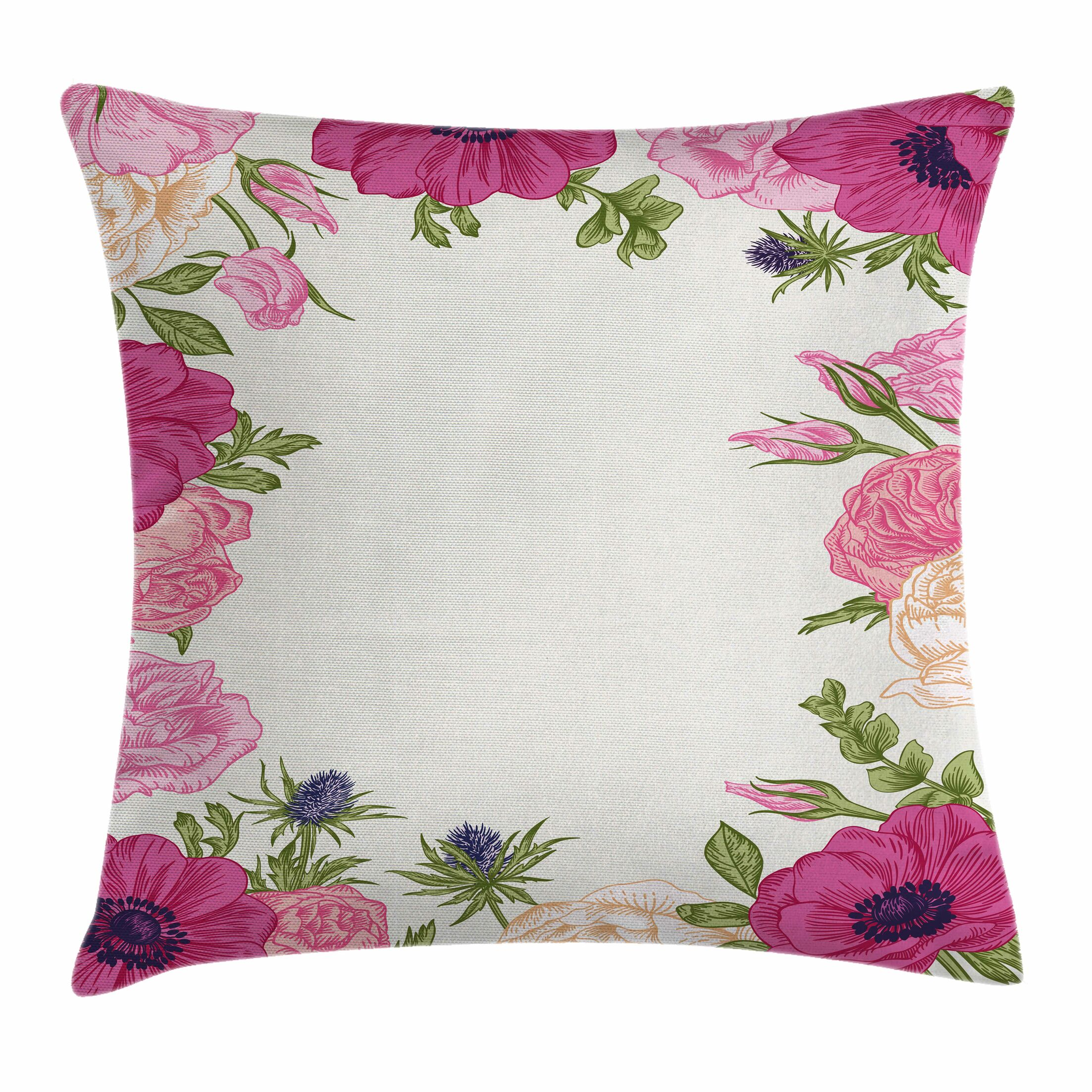 Anemone Spring Nature Square Cushion Pillow Cover Size: 24