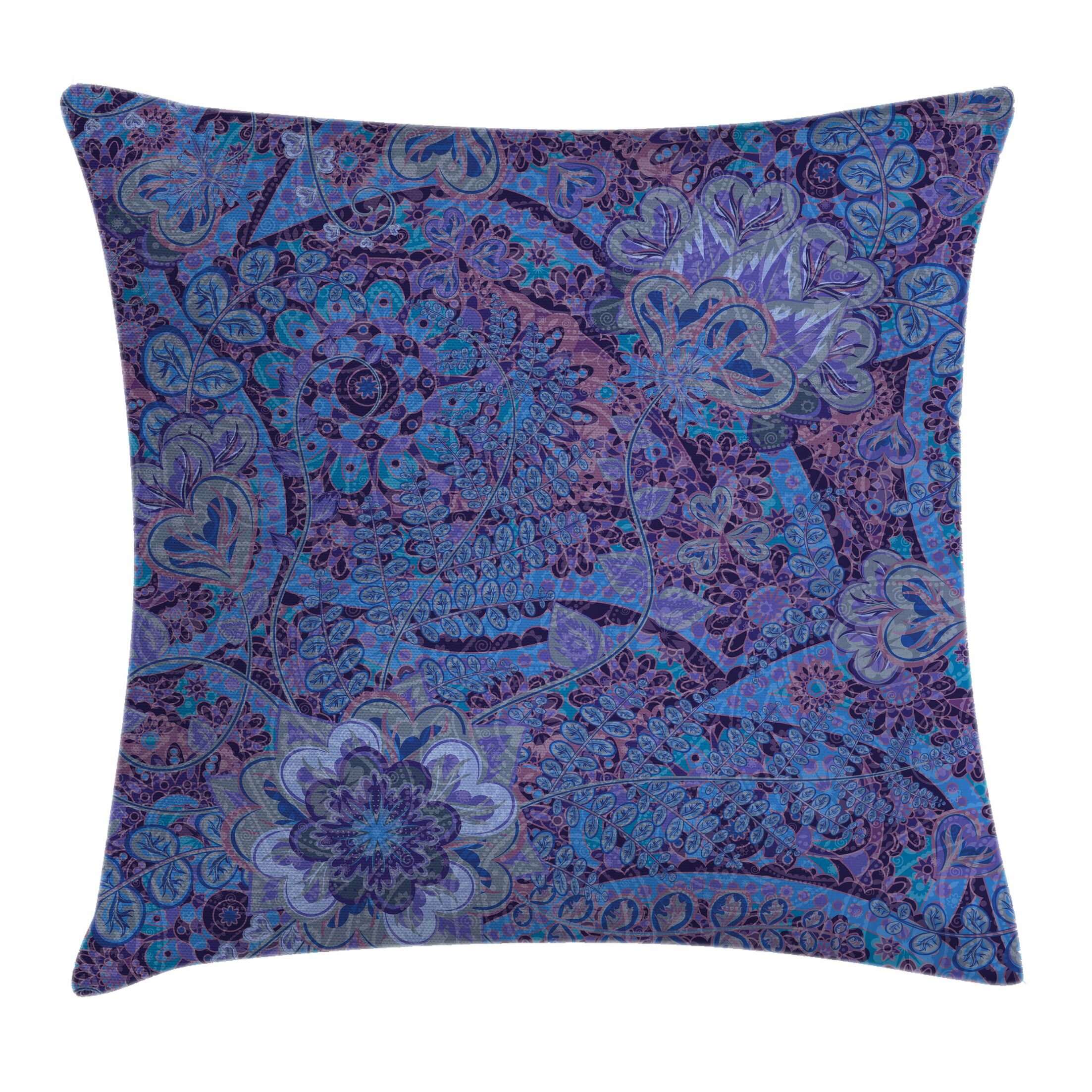 Indian Ethnic Tie-Die Paisley Square Pillow Cover Size: 16