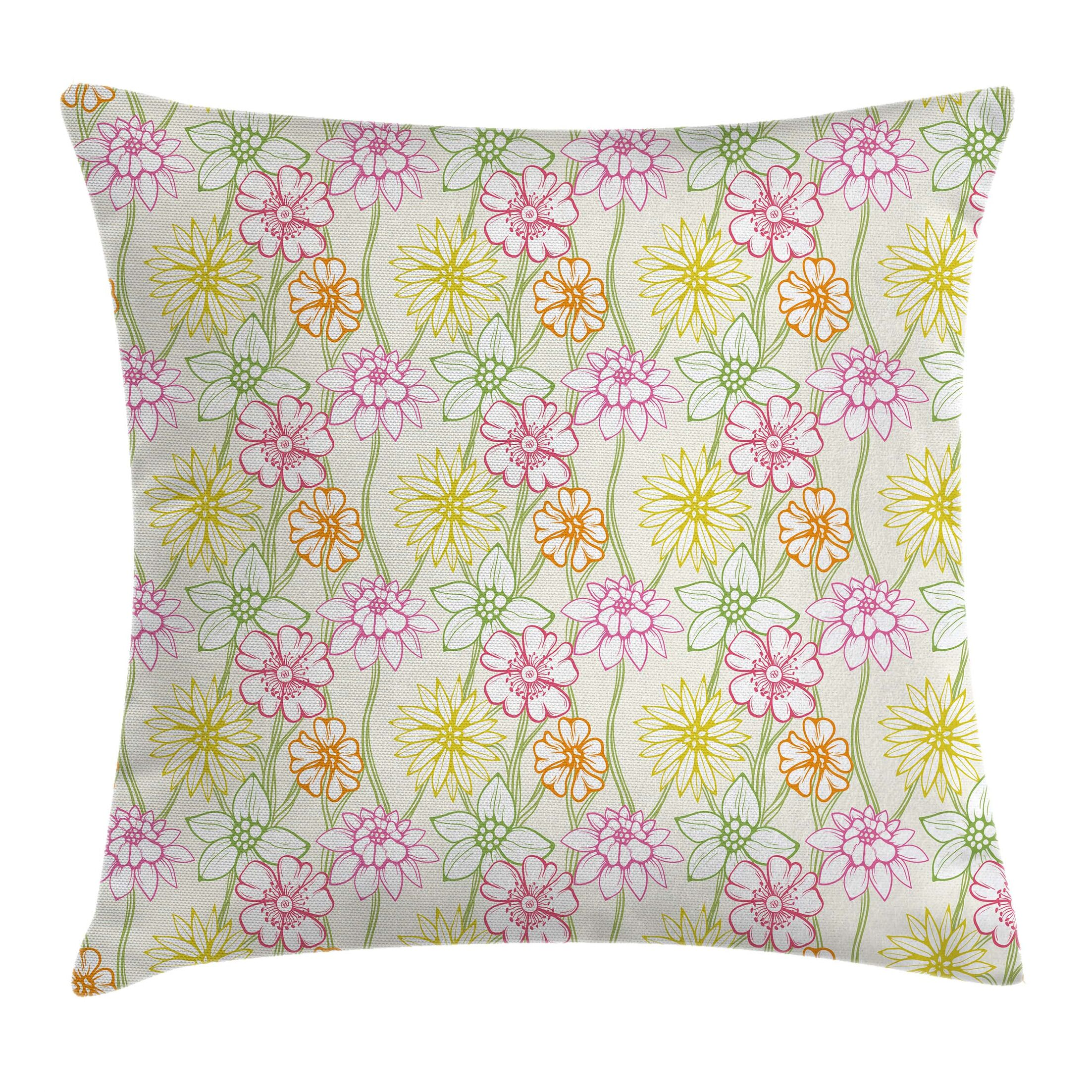 Waterproof Floral Graphic Print Square Pillow Cover with Zipper Size: 16