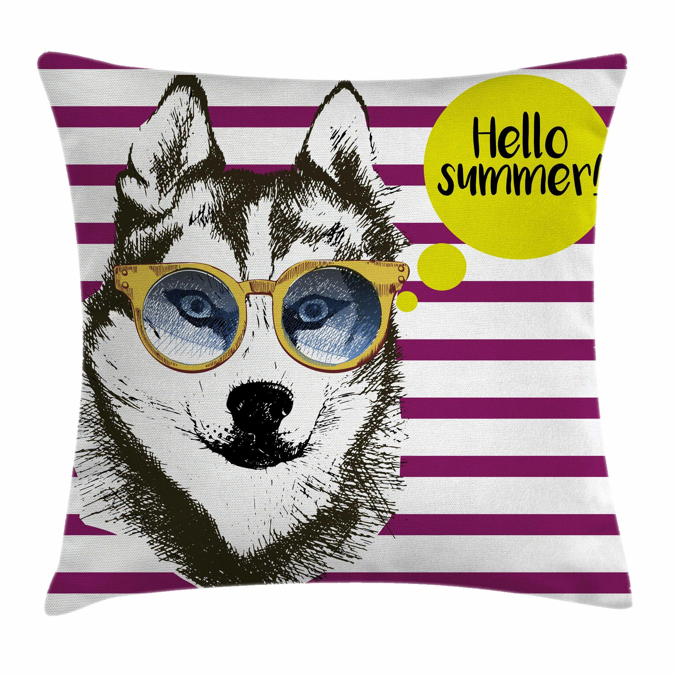 Alaskan Malamute Sketch Stripes Square Pillow Cover Size: 18
