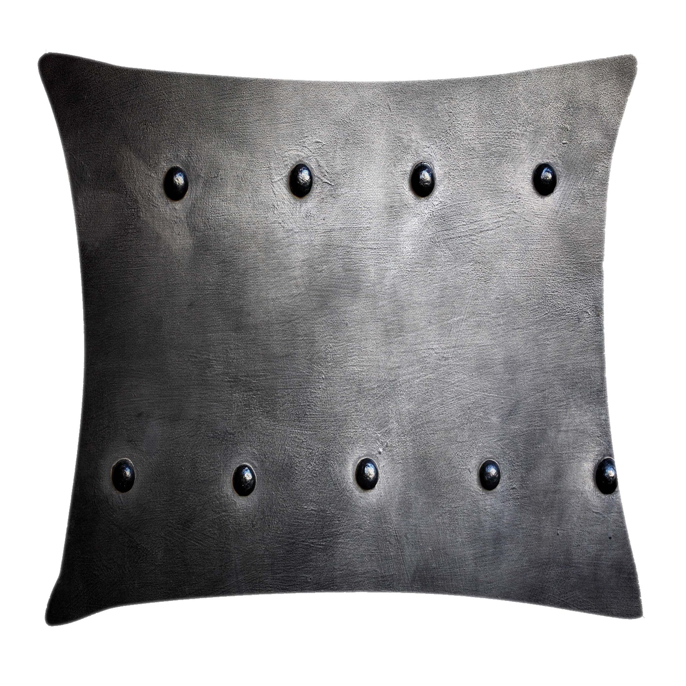 Metal Grunge Plate Square Pillow Cover Size: 24
