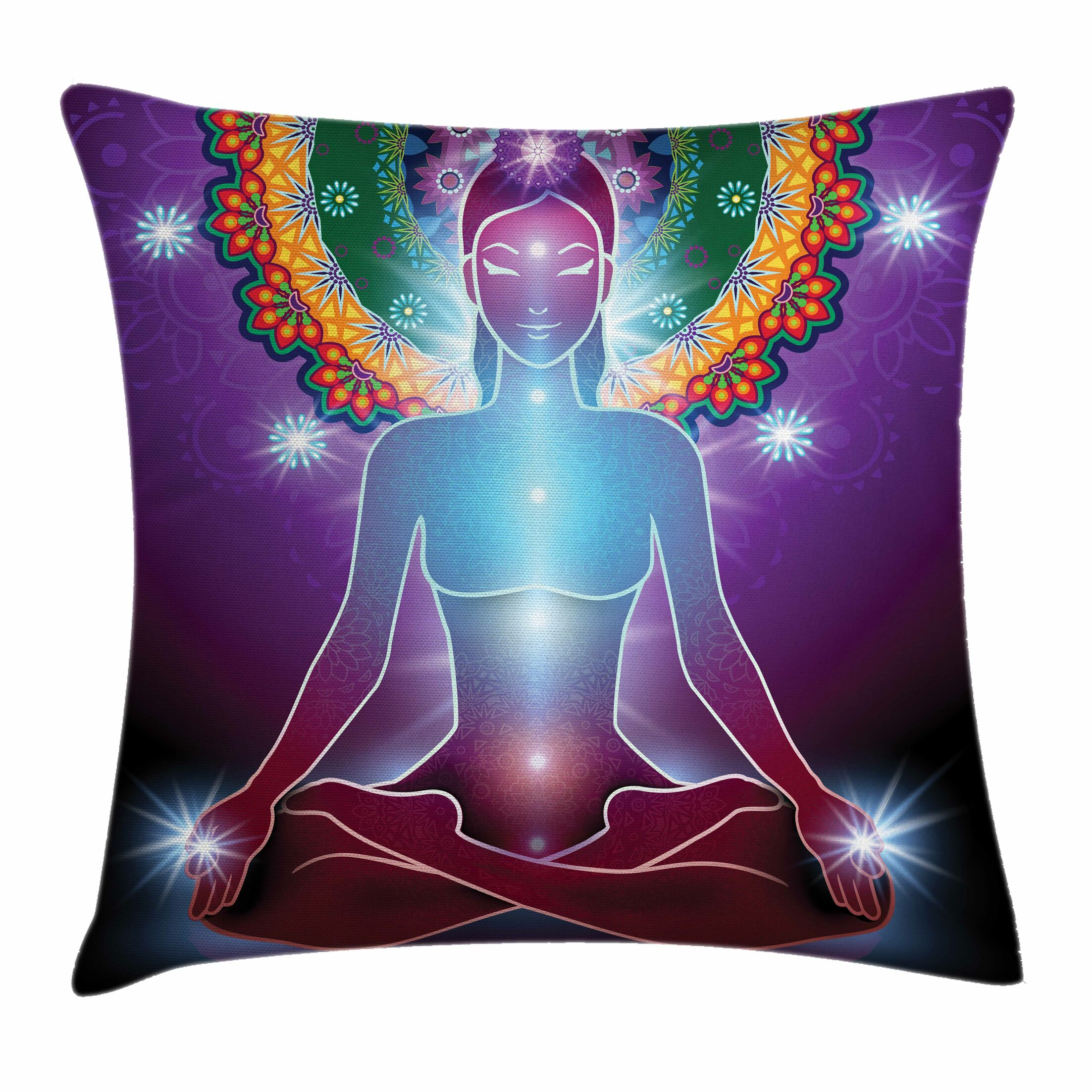 Yoga Inner Peace Mystic Energy Square Pillow Cover Size: 20