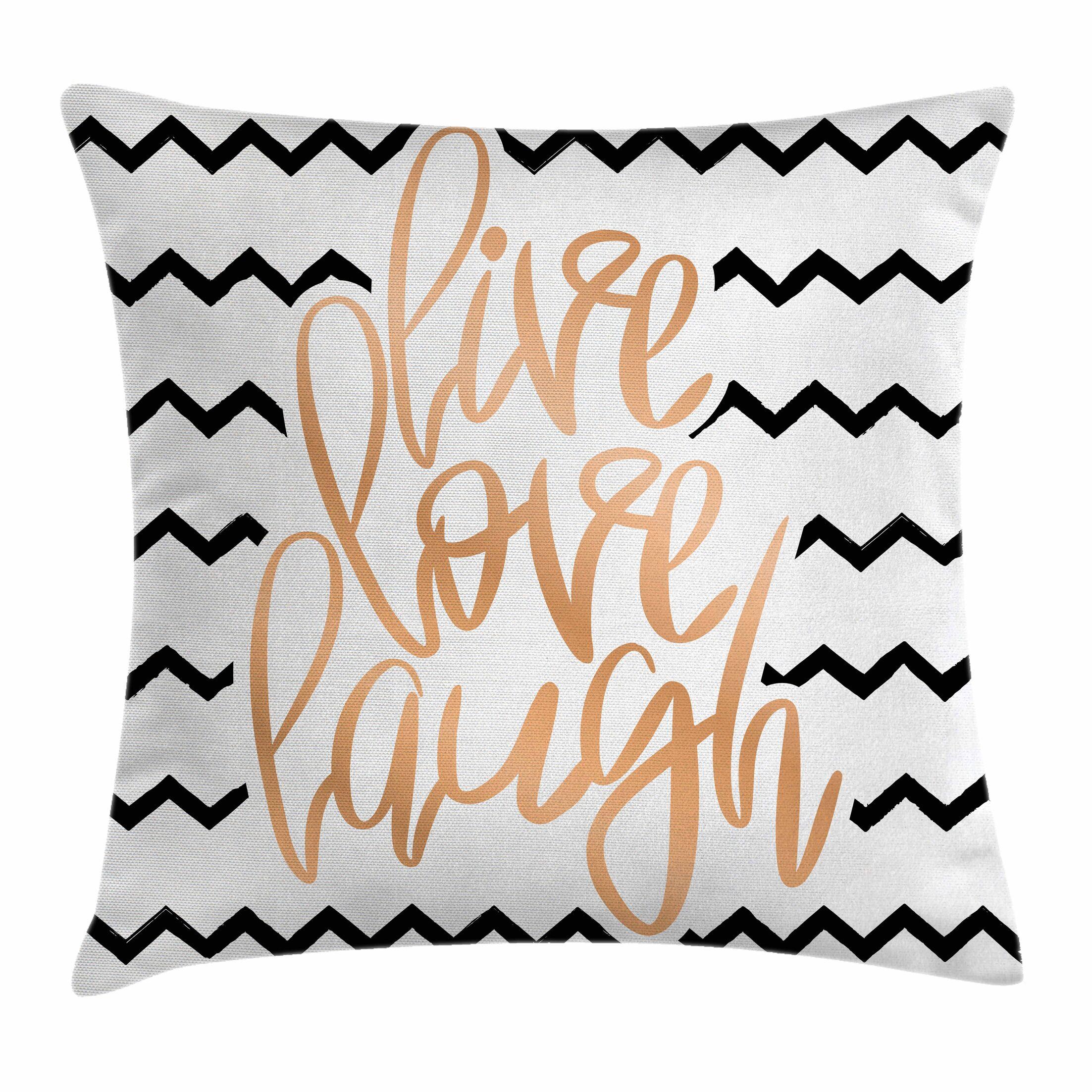 Live Laugh Love Chevron Art Square Pillow Cover Size: 24
