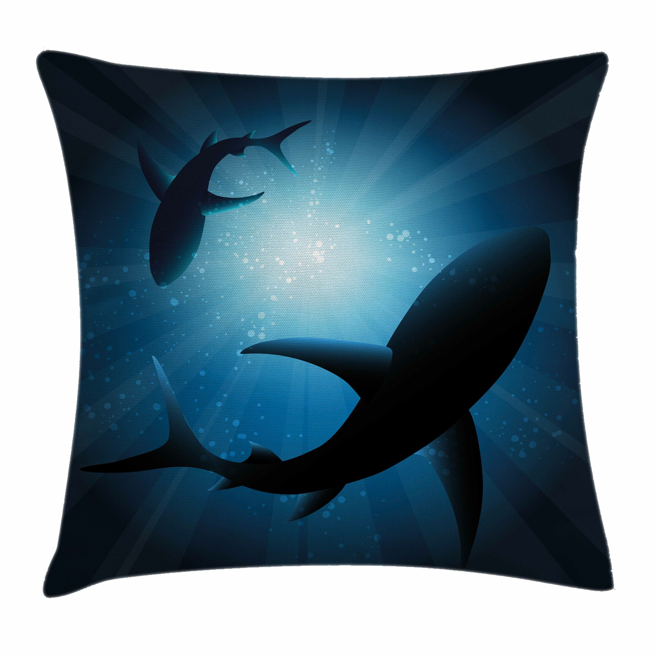 Shark Fish Silhouettes Swimming Square Pillow Cover Size: 18