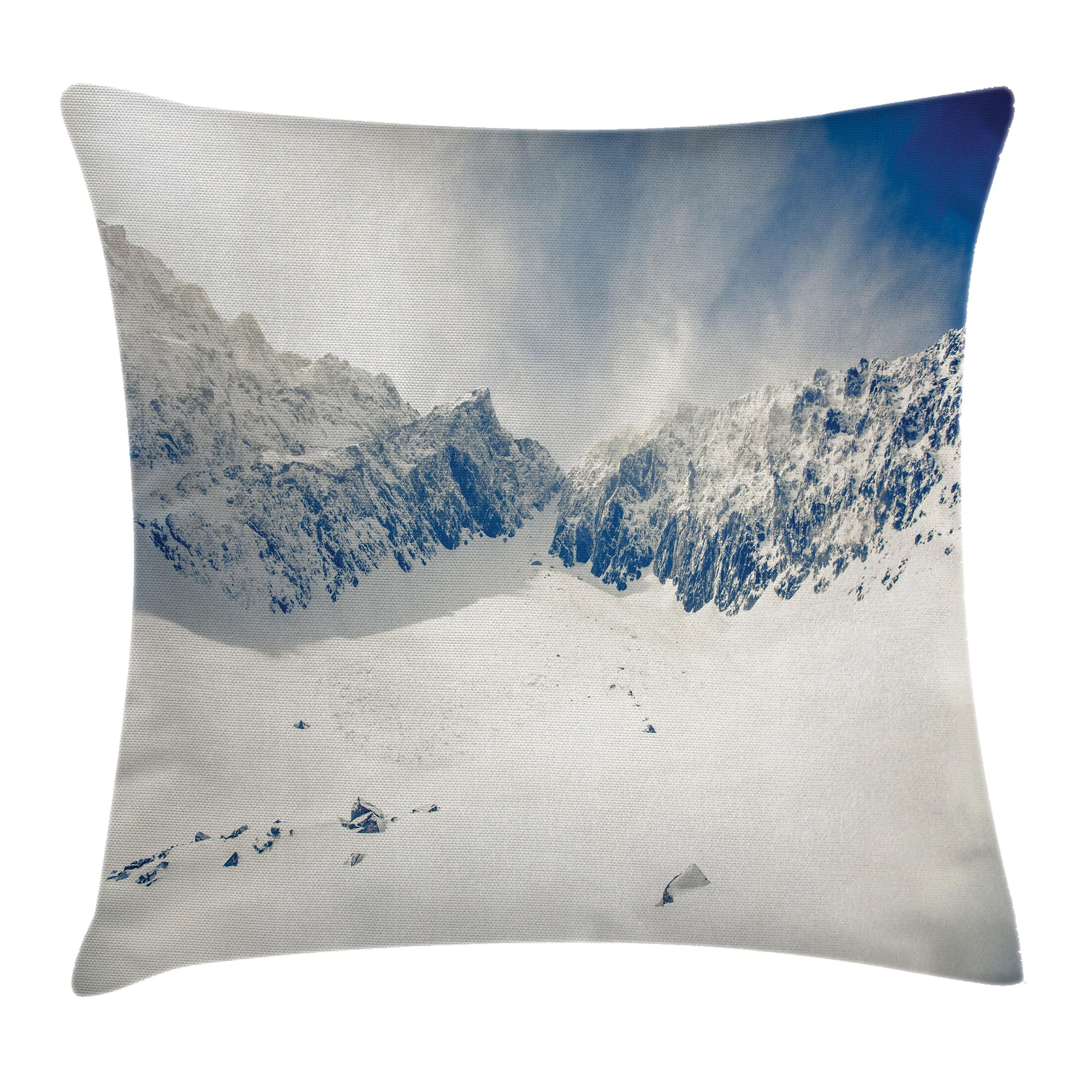 Winter Nature Mountain Snowy Square Pillow Cover Size: 24