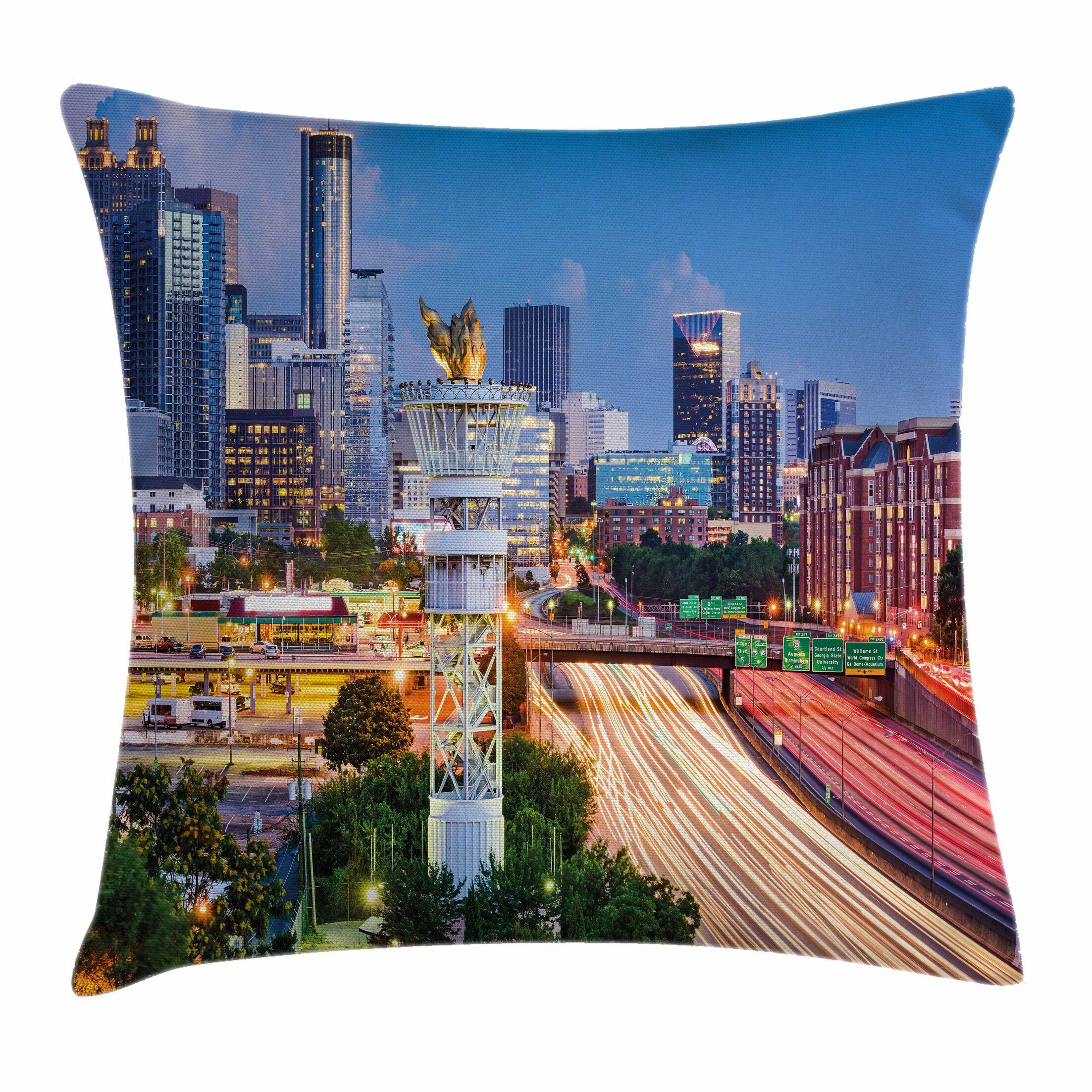 United States Atlanta Georgia Square Pillow Cover Size: 24