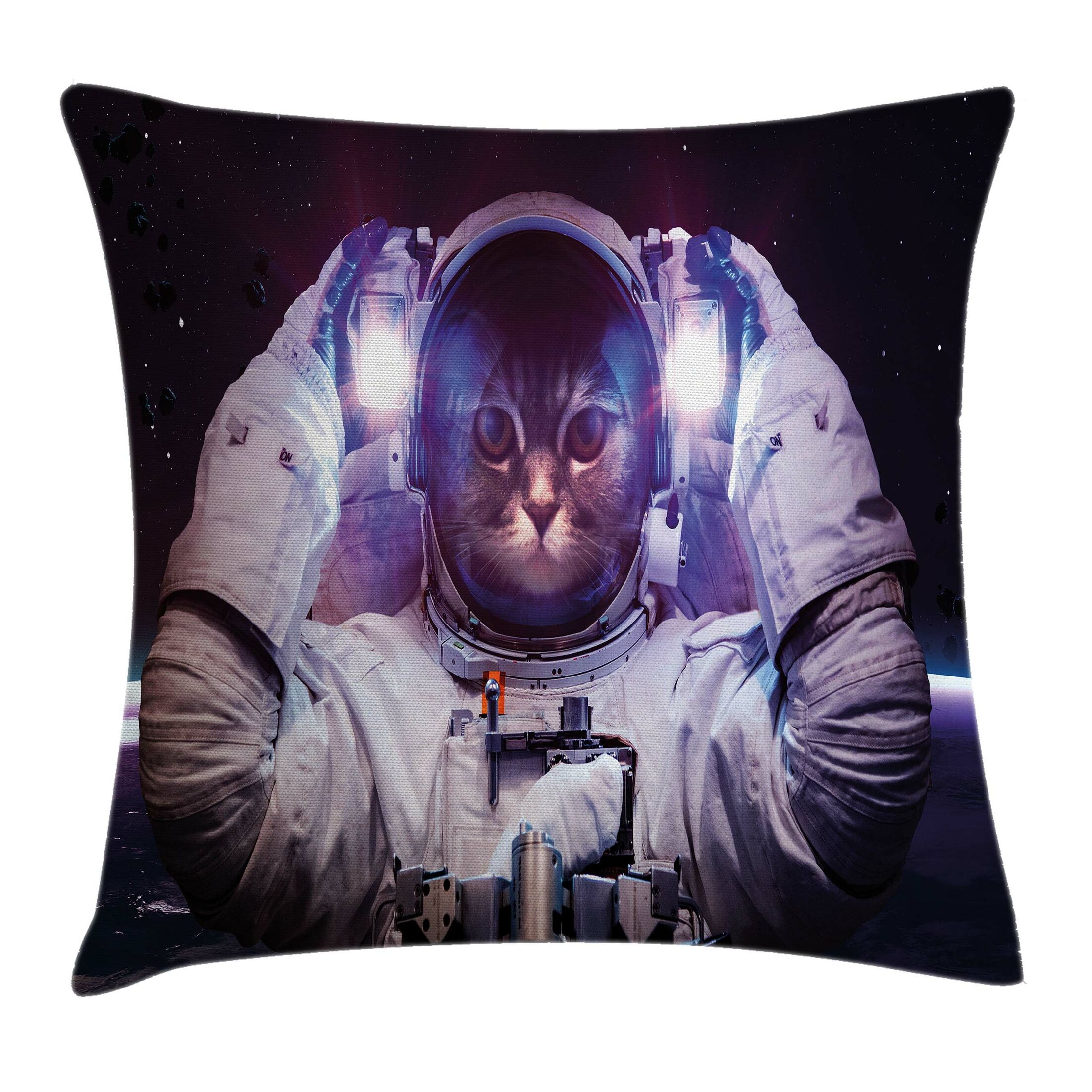 Space Cat Galaxy Star Supernova Square Pillow Cover Size: 16
