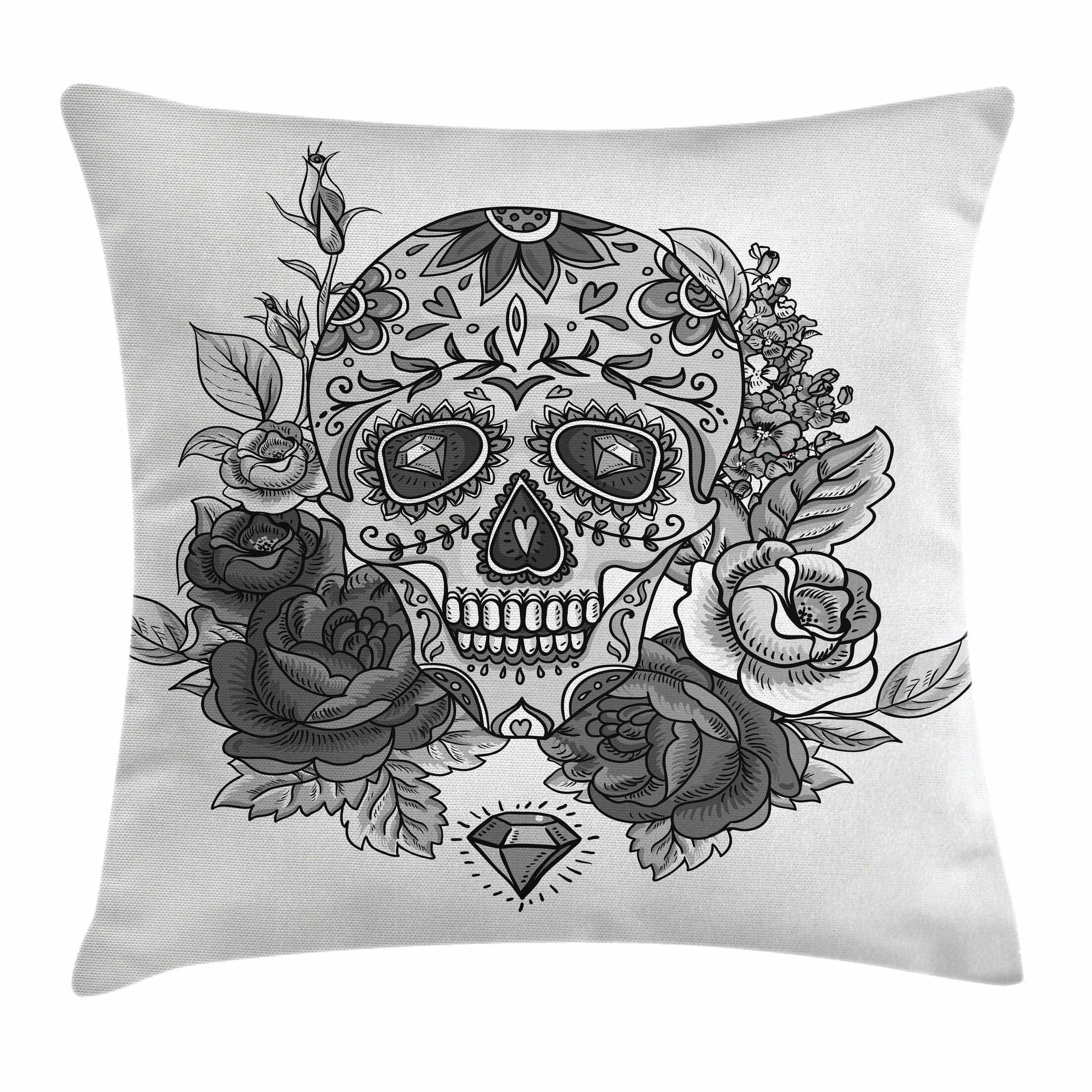 Sugar Skull Roses Diamond Shape Square Pillow Cover Size: 16