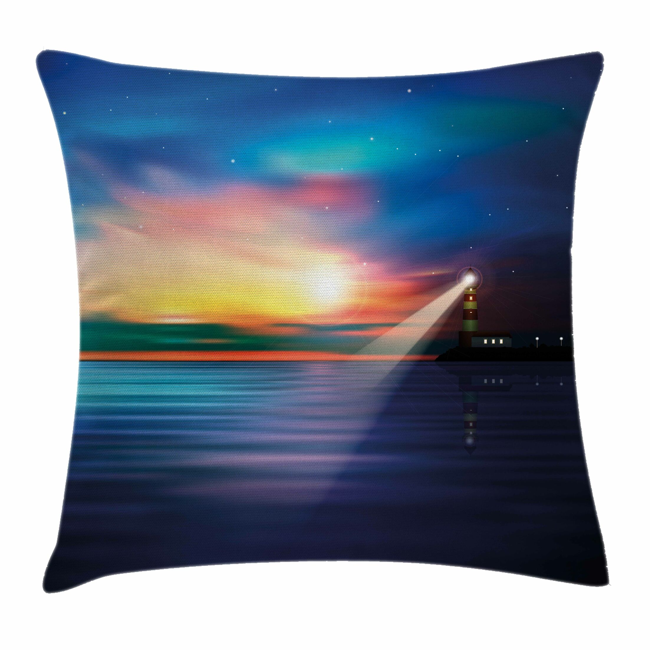 Lighthouse Majestic Sky Beach Square Pillow Cover Size: 18