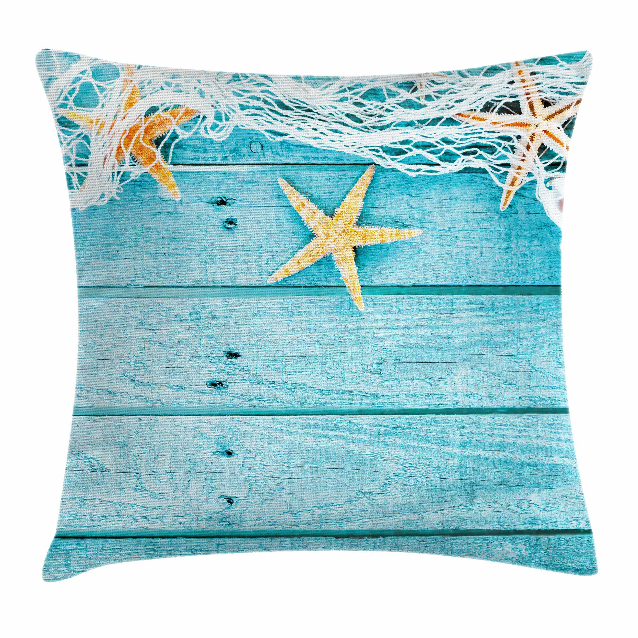 Starfish Decor Rustic Fish Net Square Pillow Cover Size: 20
