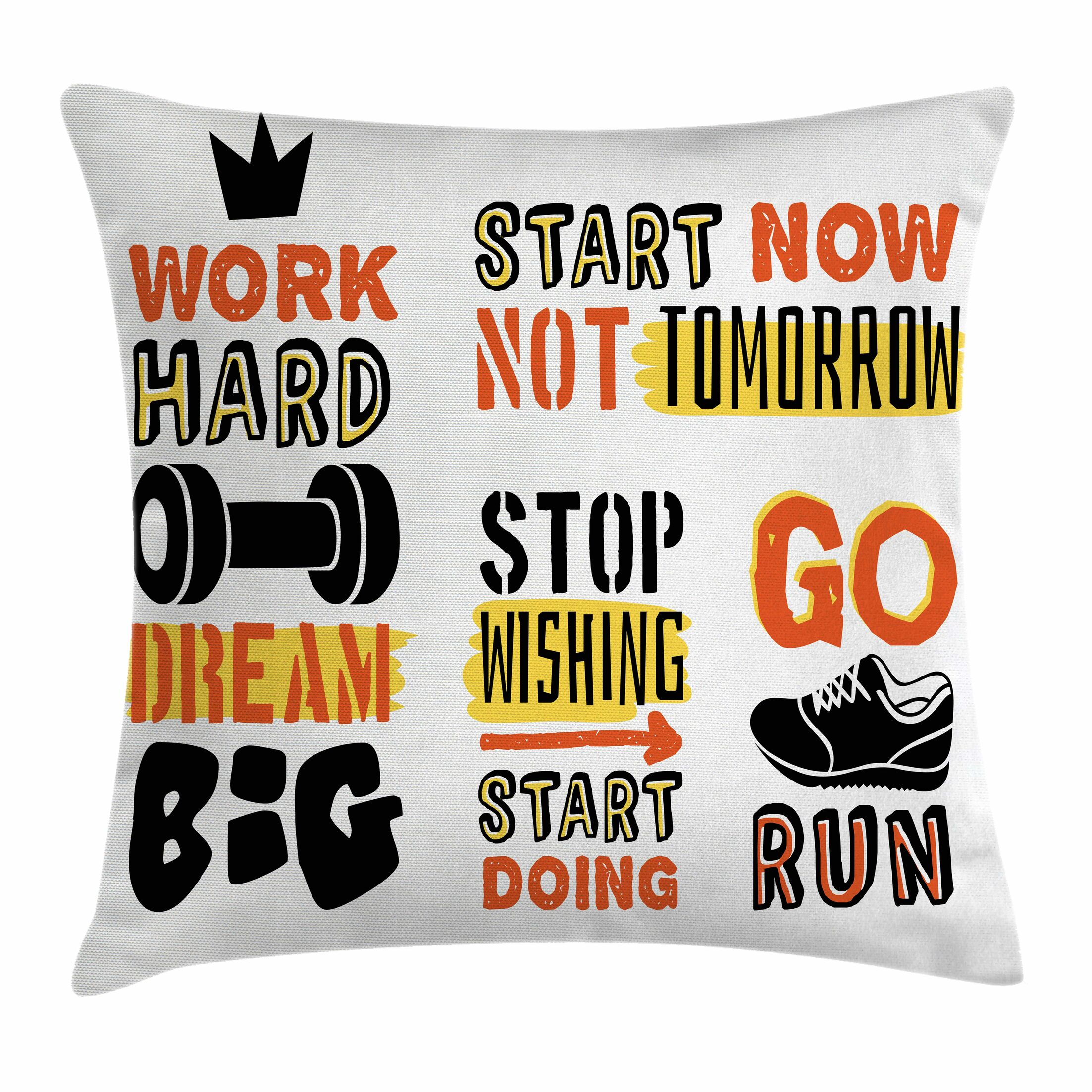Fitness Positive Quotes Design Square Pillow Cover Size: 24
