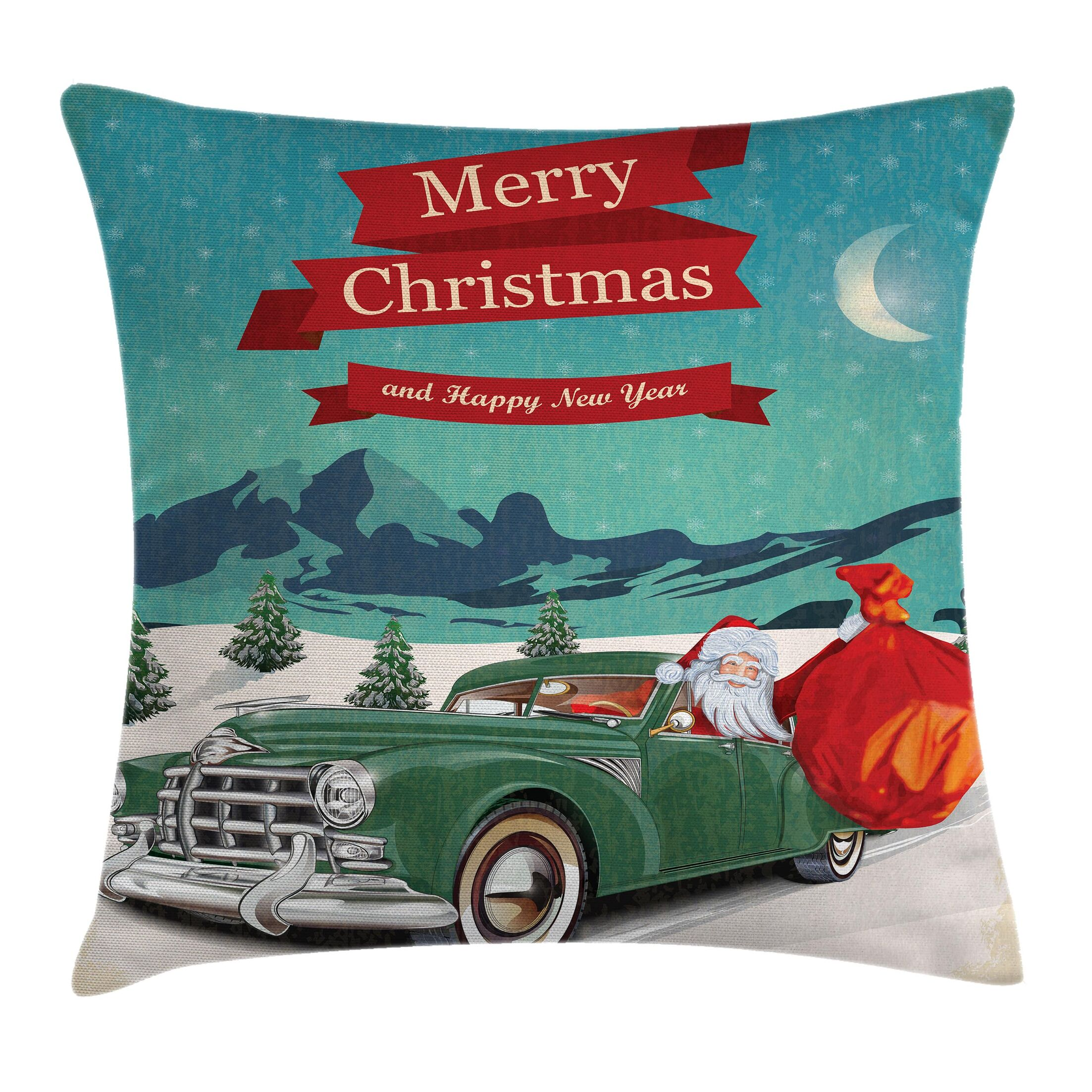 Christmas Santa in Classic Car Square Pillow Cover Size: 20