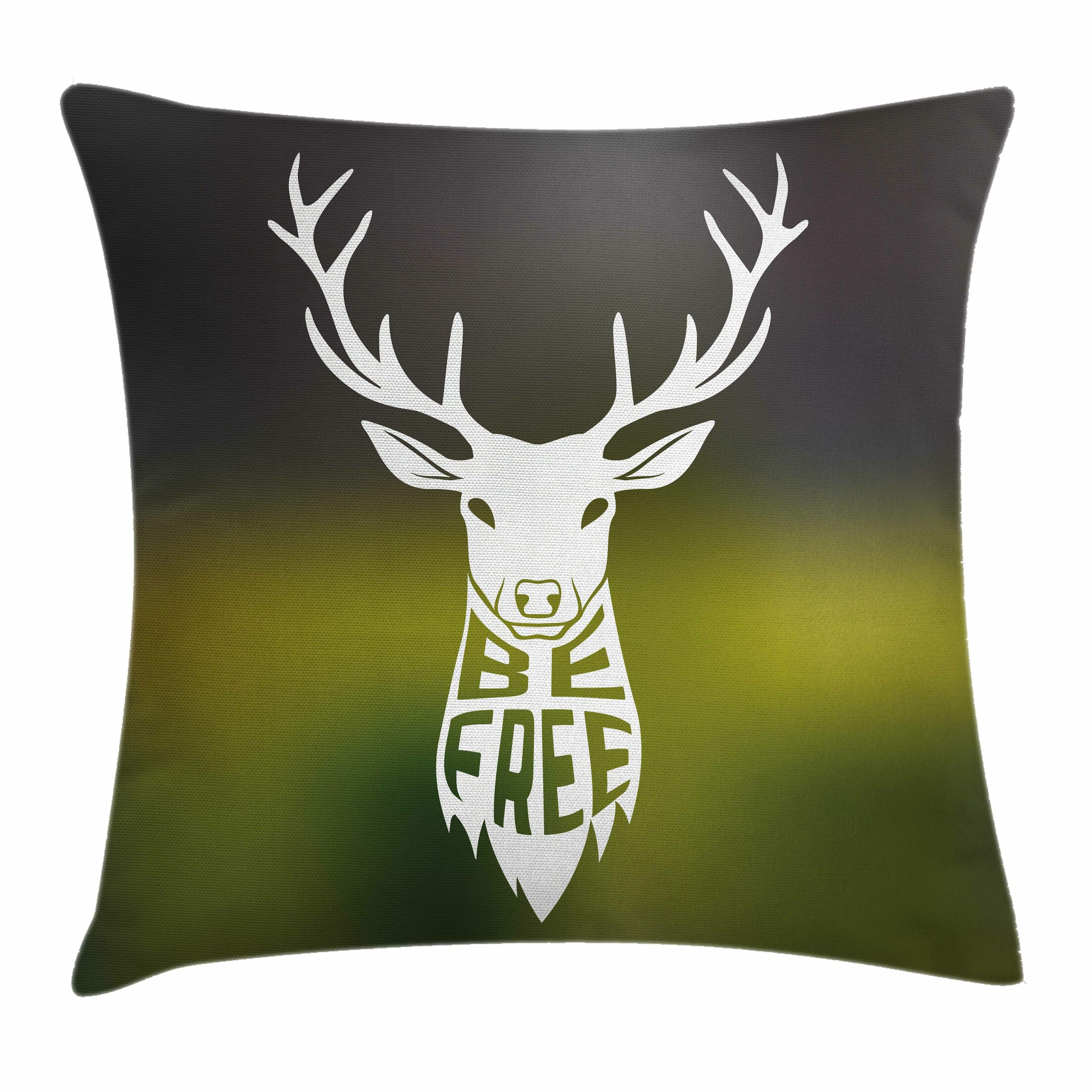 Deer Head Art Square Pillow Cover Size: 16