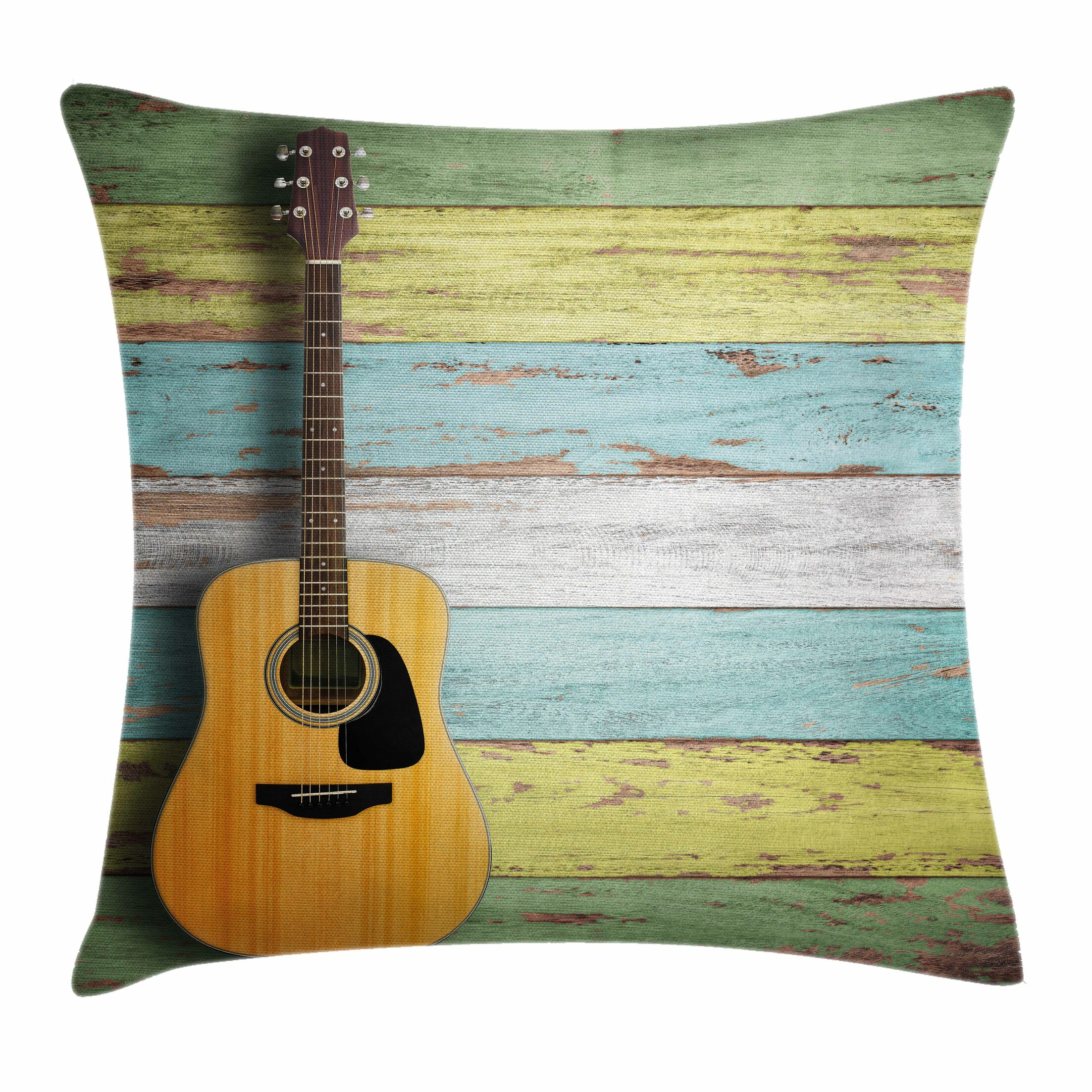 Music Decor Acoustic Guitar Square Pillow Cover Size: 24