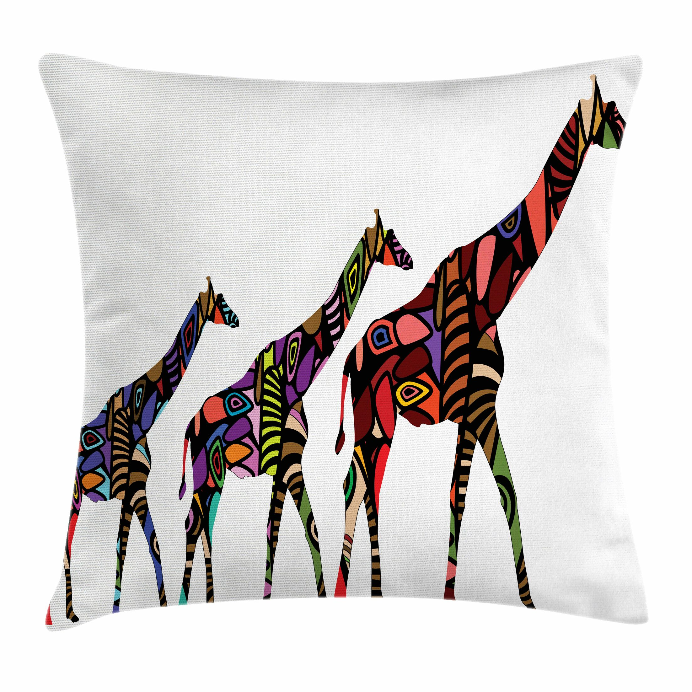 Zoo African Ethnic Giraffes Square Pillow Cover Size: 16
