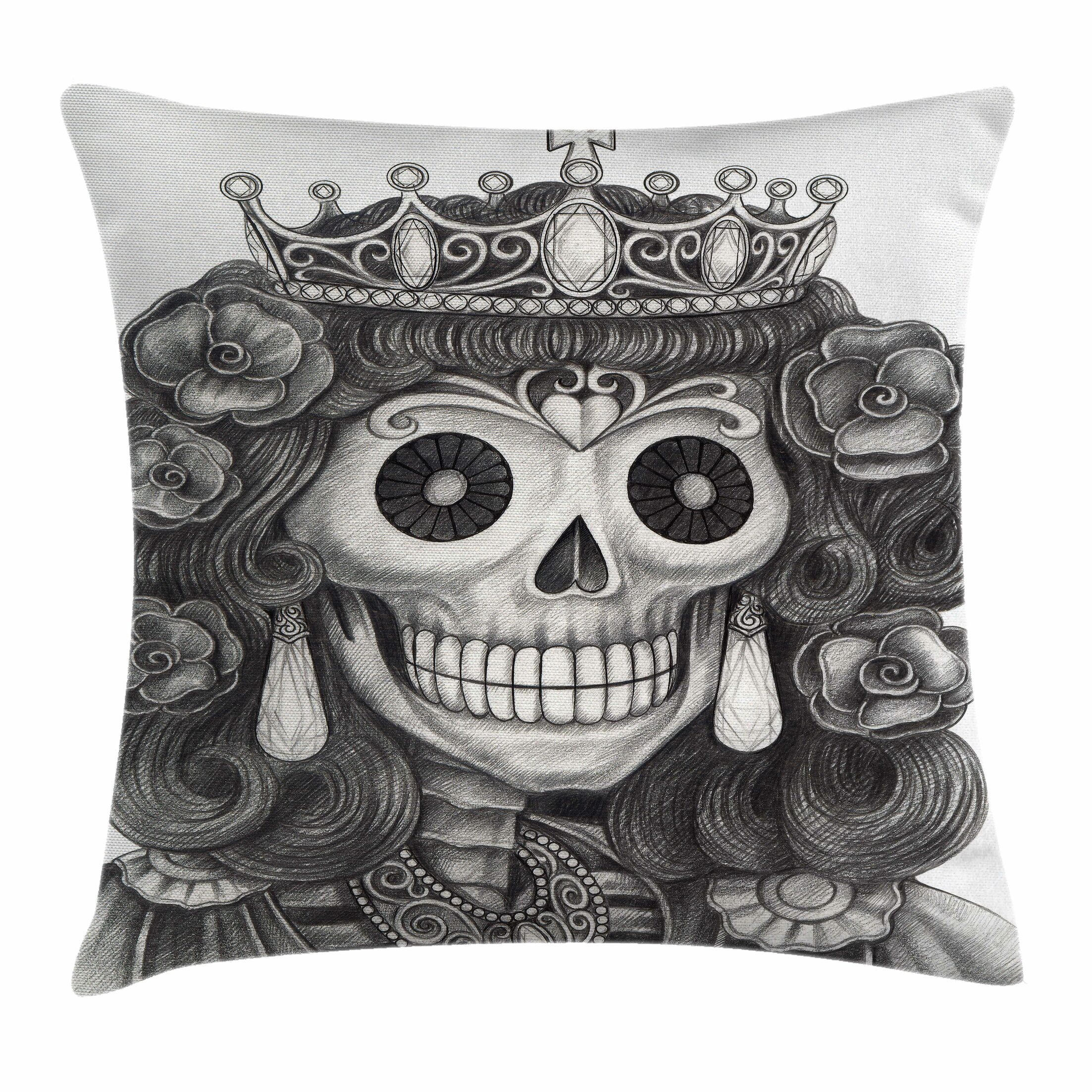 Skull Dead Queen Jewels Flowers Square Pillow Cover Size: 24