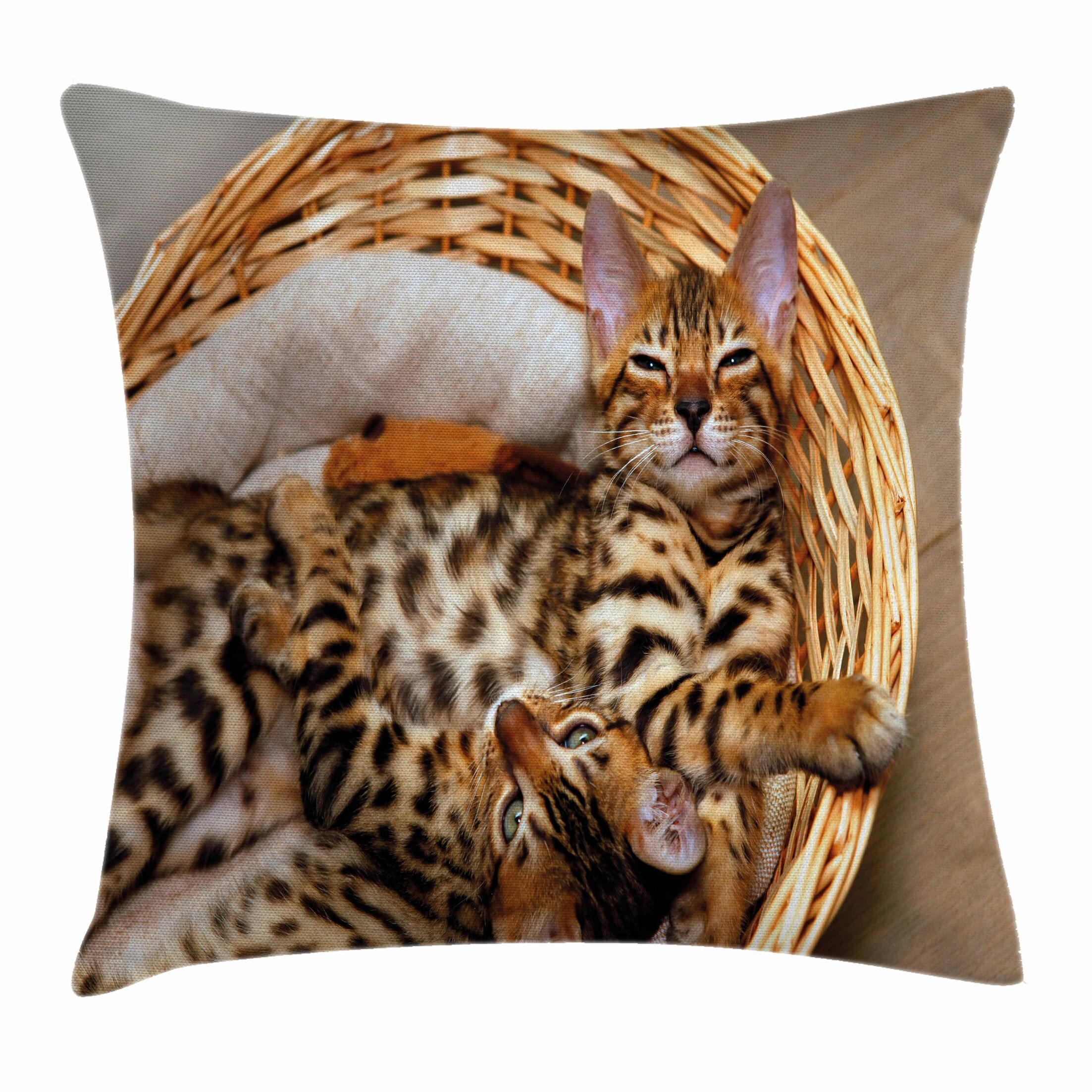 Bengal Cats Pillow Cover Size: 18