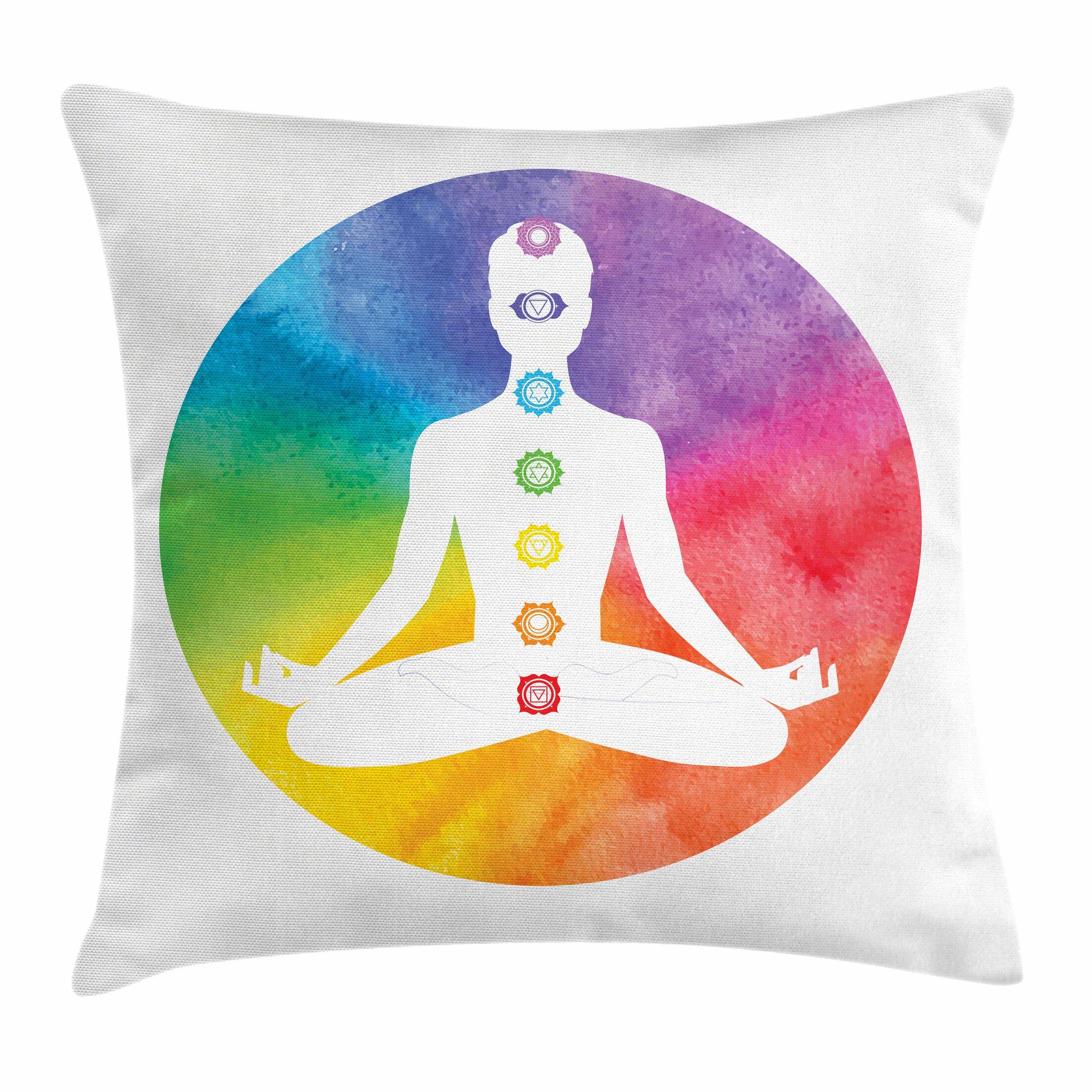 Yoga Symbols of Chakra Lotus Square Pillow Cover Size: 18