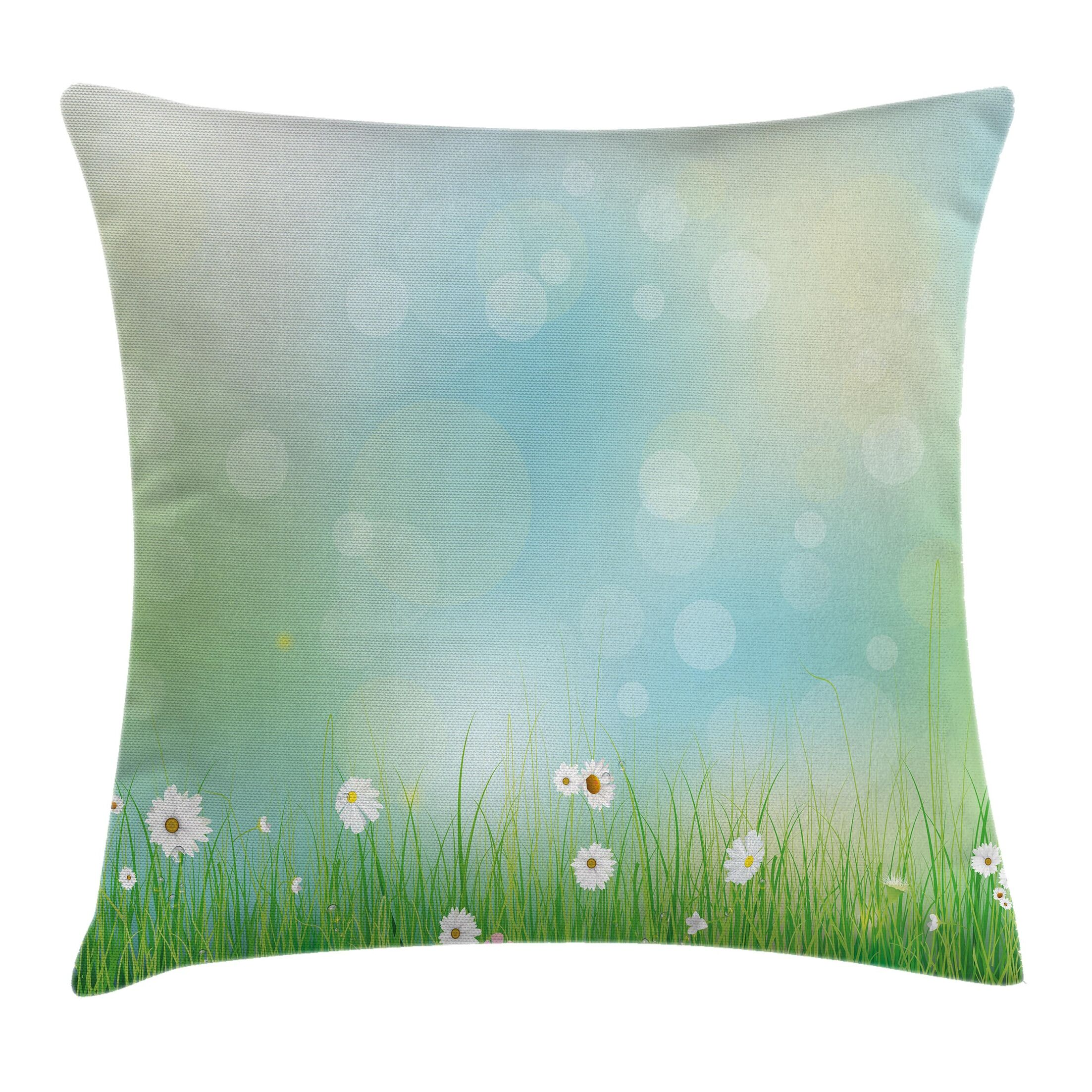 Floral Spring Nature Field Square Pillow Cover Size: 24