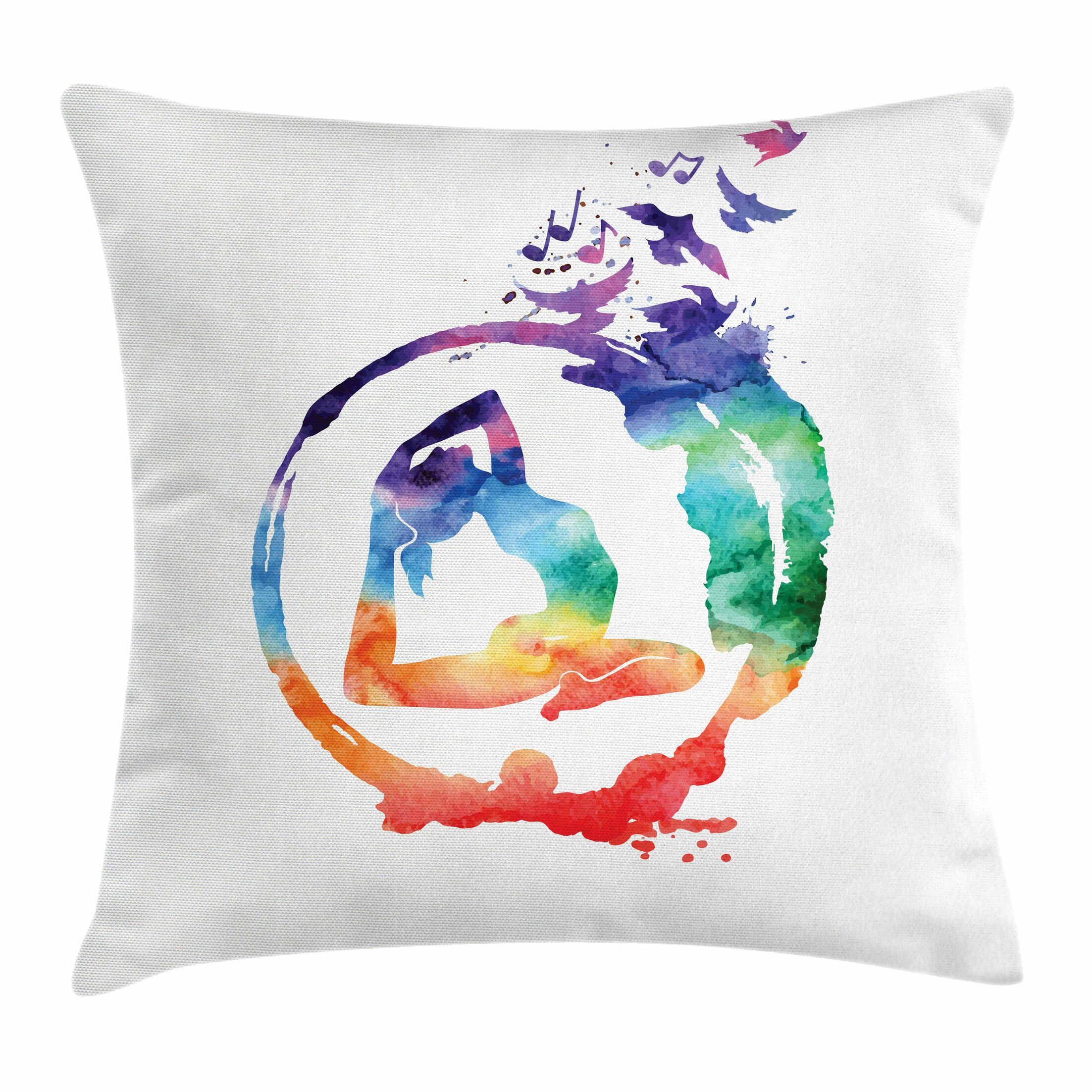 Yoga Watercolors Birds Music Square Pillow Cover Size: 16