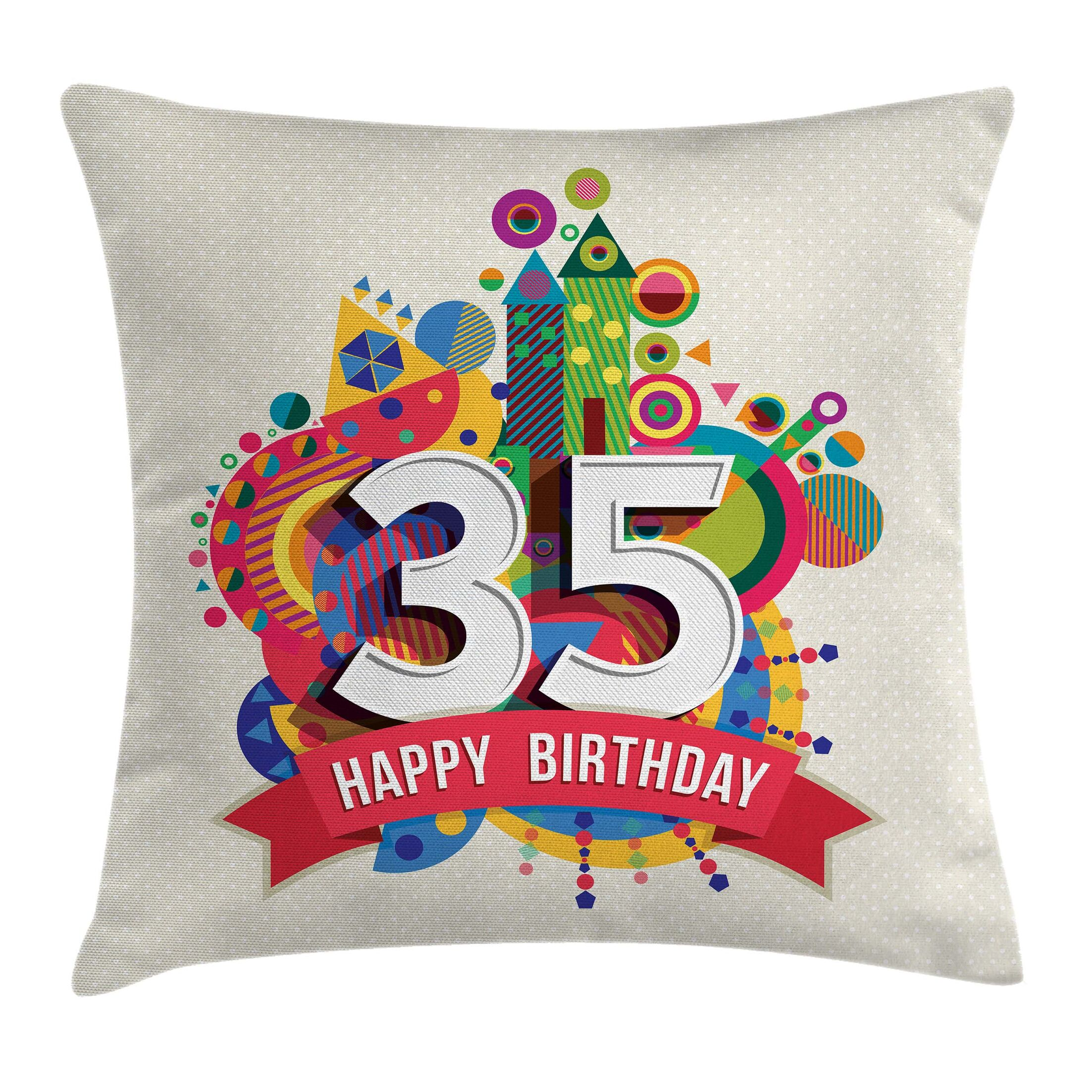 Fun Joyful Greeting Gift Age 35 Square Pillow Cover Size: 20