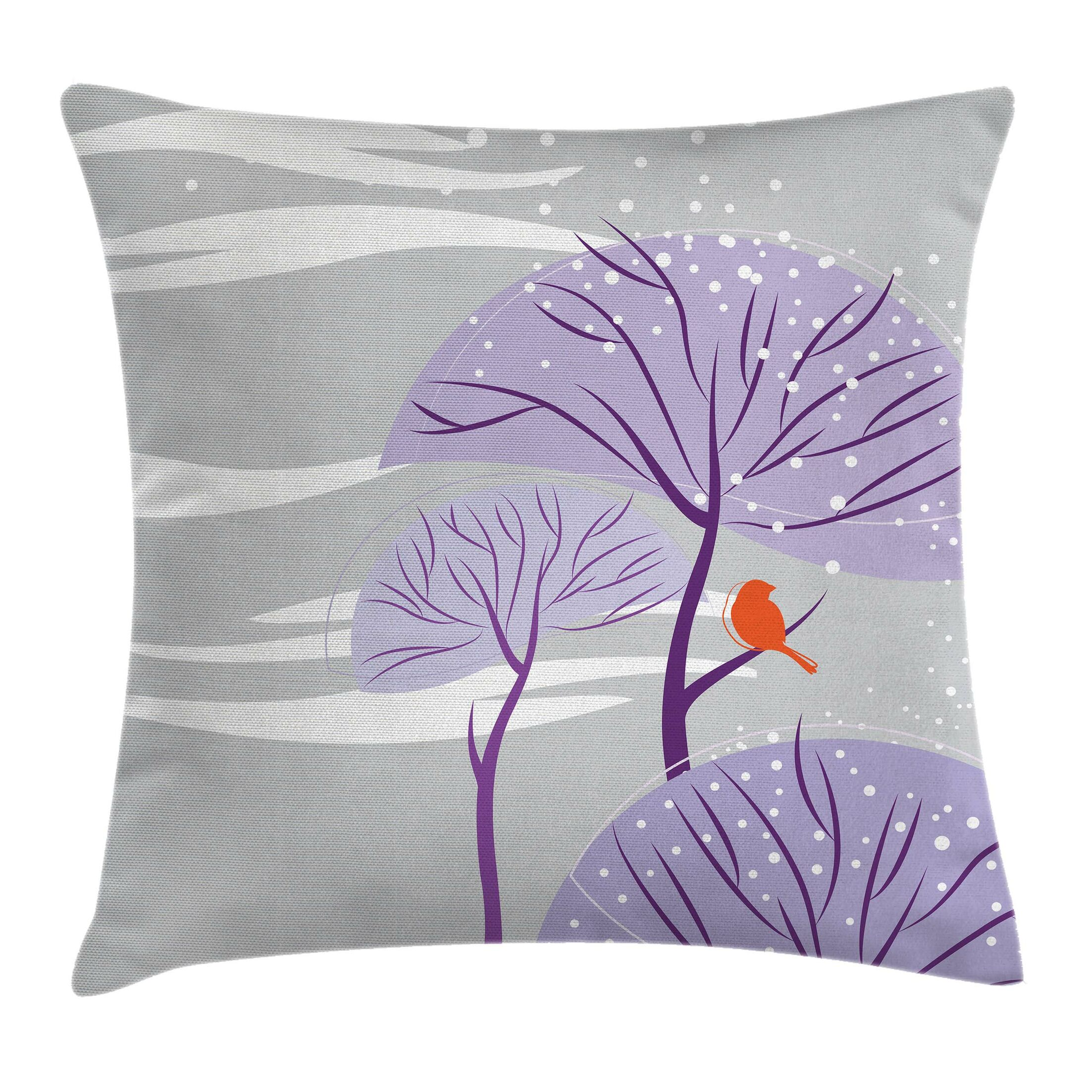 Winter Trees Snow Bird Pillow Cover Size: 16