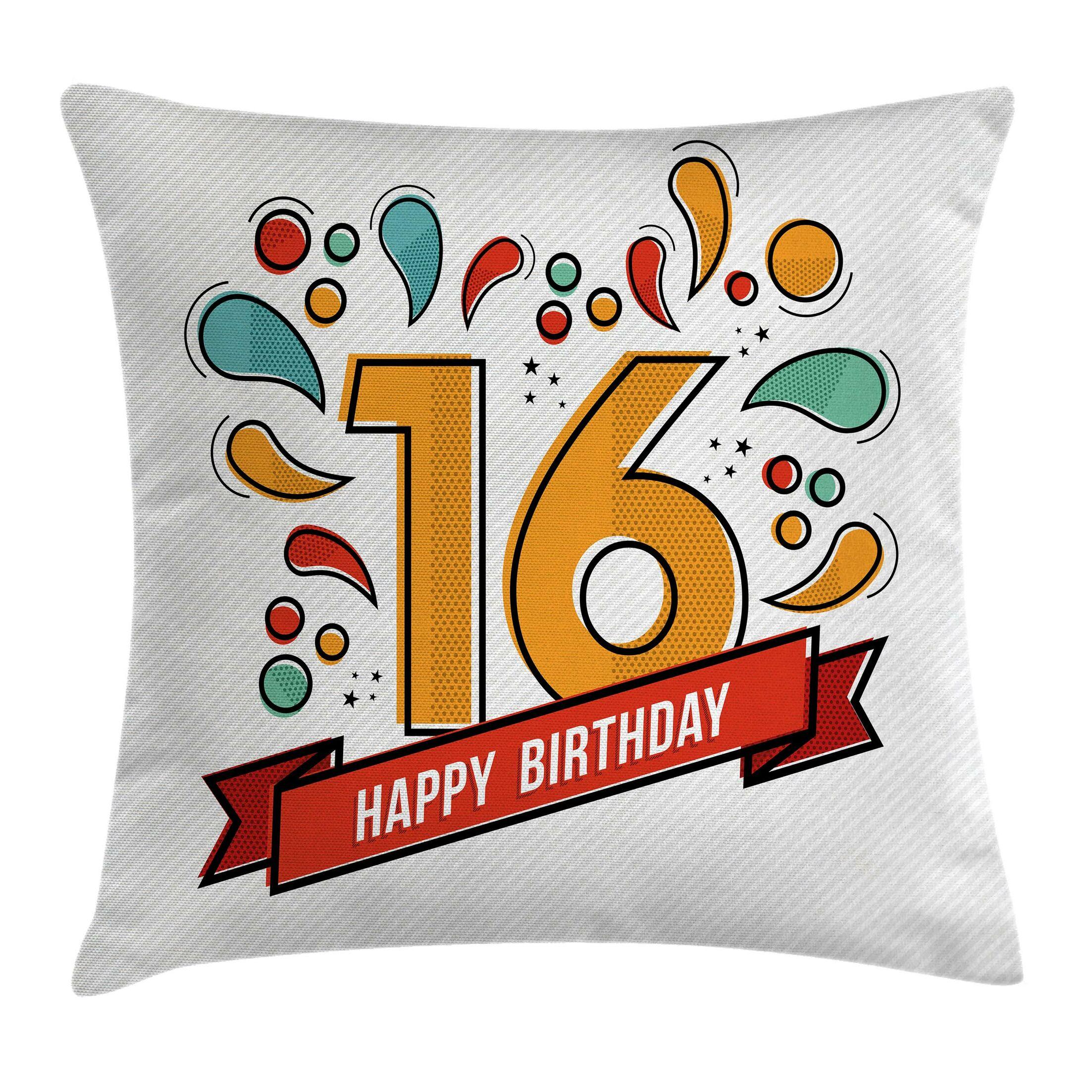 Festive Teen Modern Invitation Square Pillow Cover Size: 16