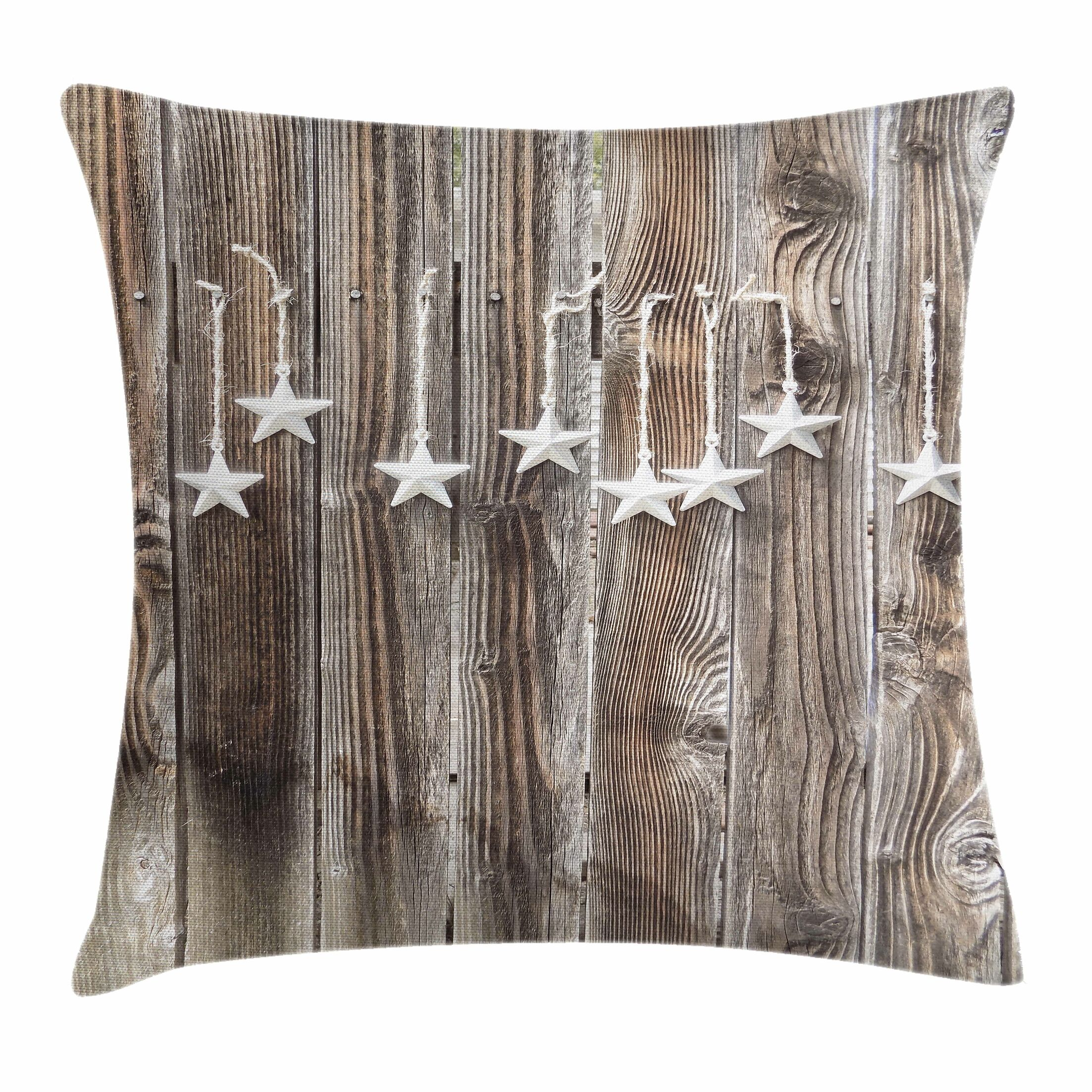Primitive Country Silver Stars Square Pillow Cover Size: 16