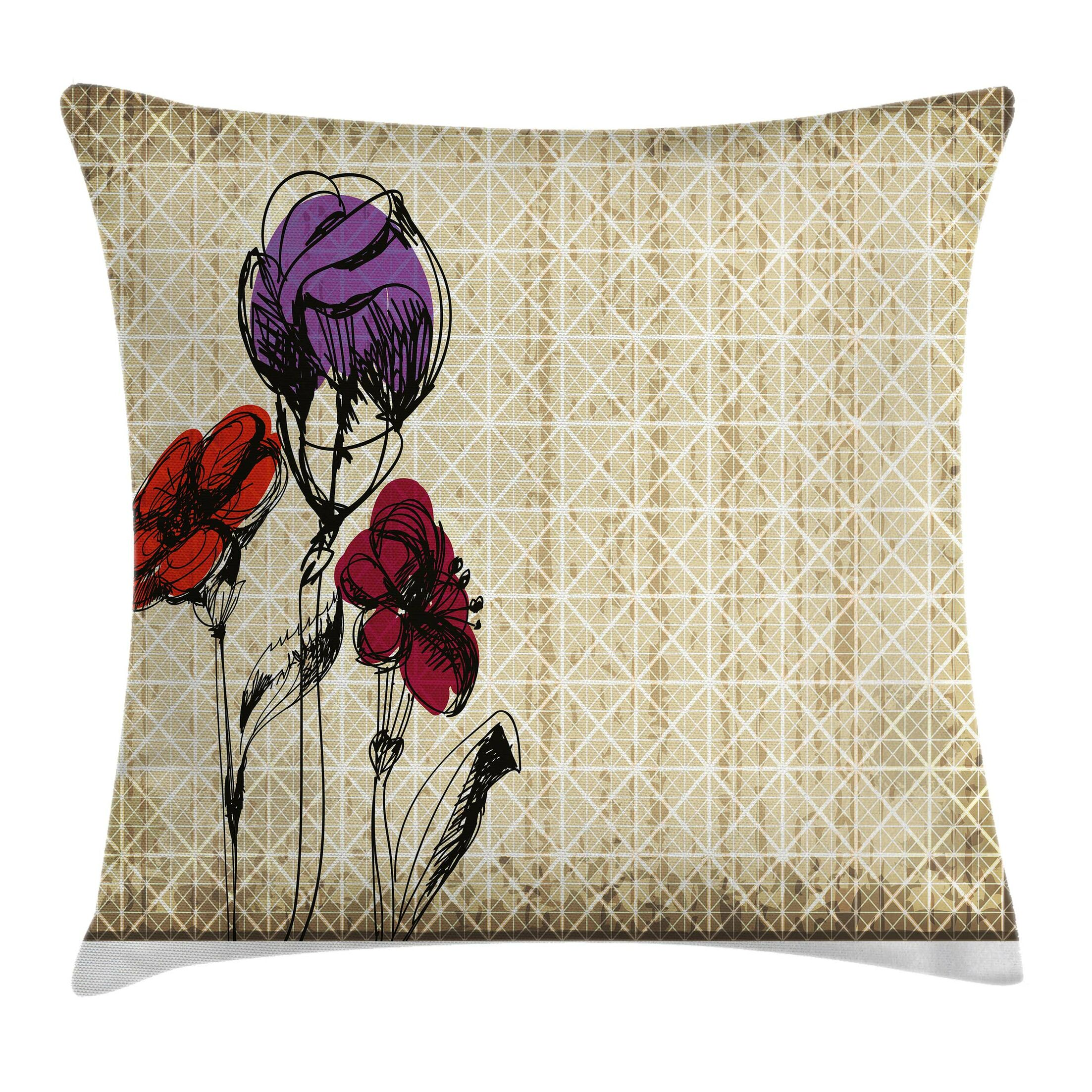 Sketchy Flower Petals Grunge Pillow Cover Size: 16