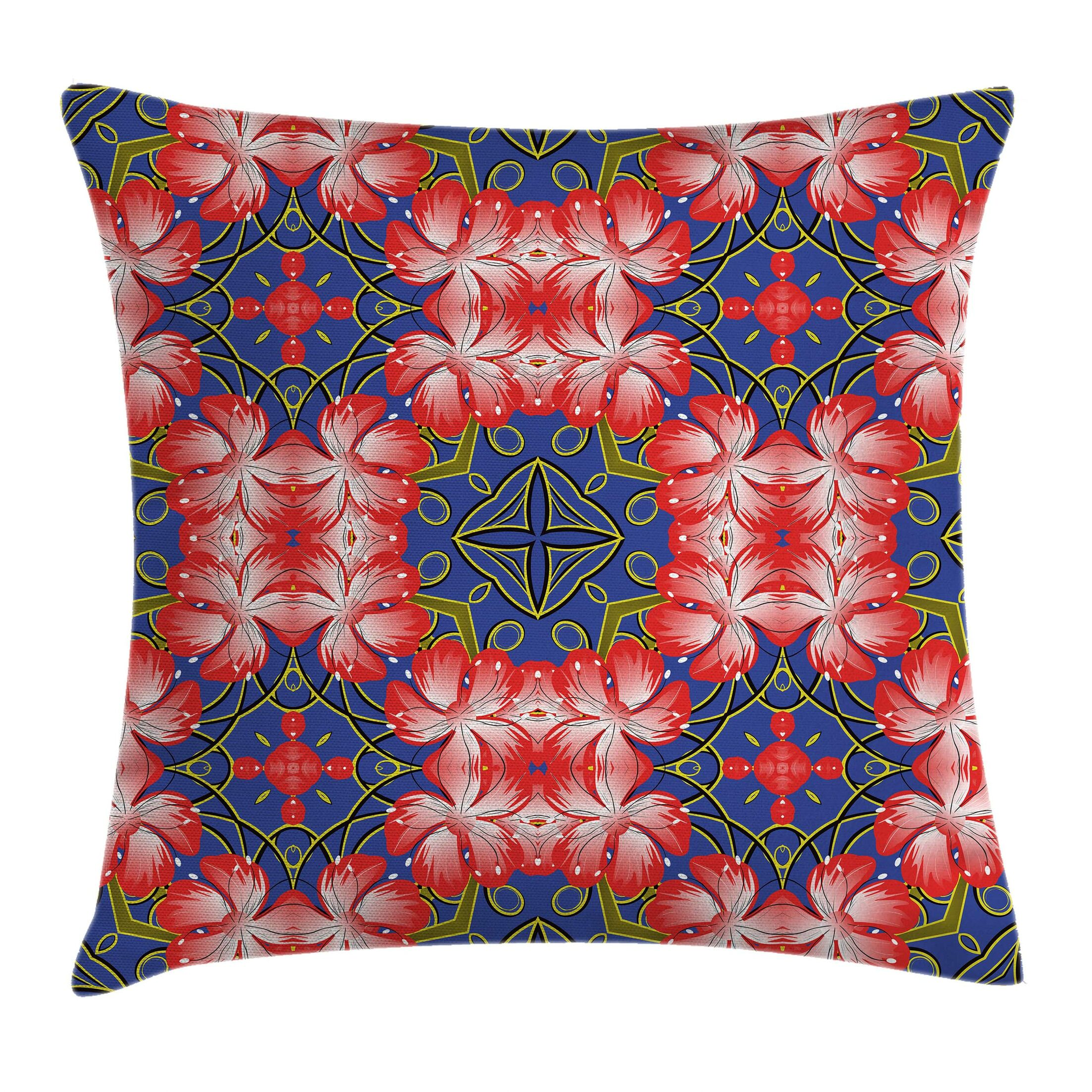 Floral Blossoms Bands Vibrant Pillow Cover Size: 16