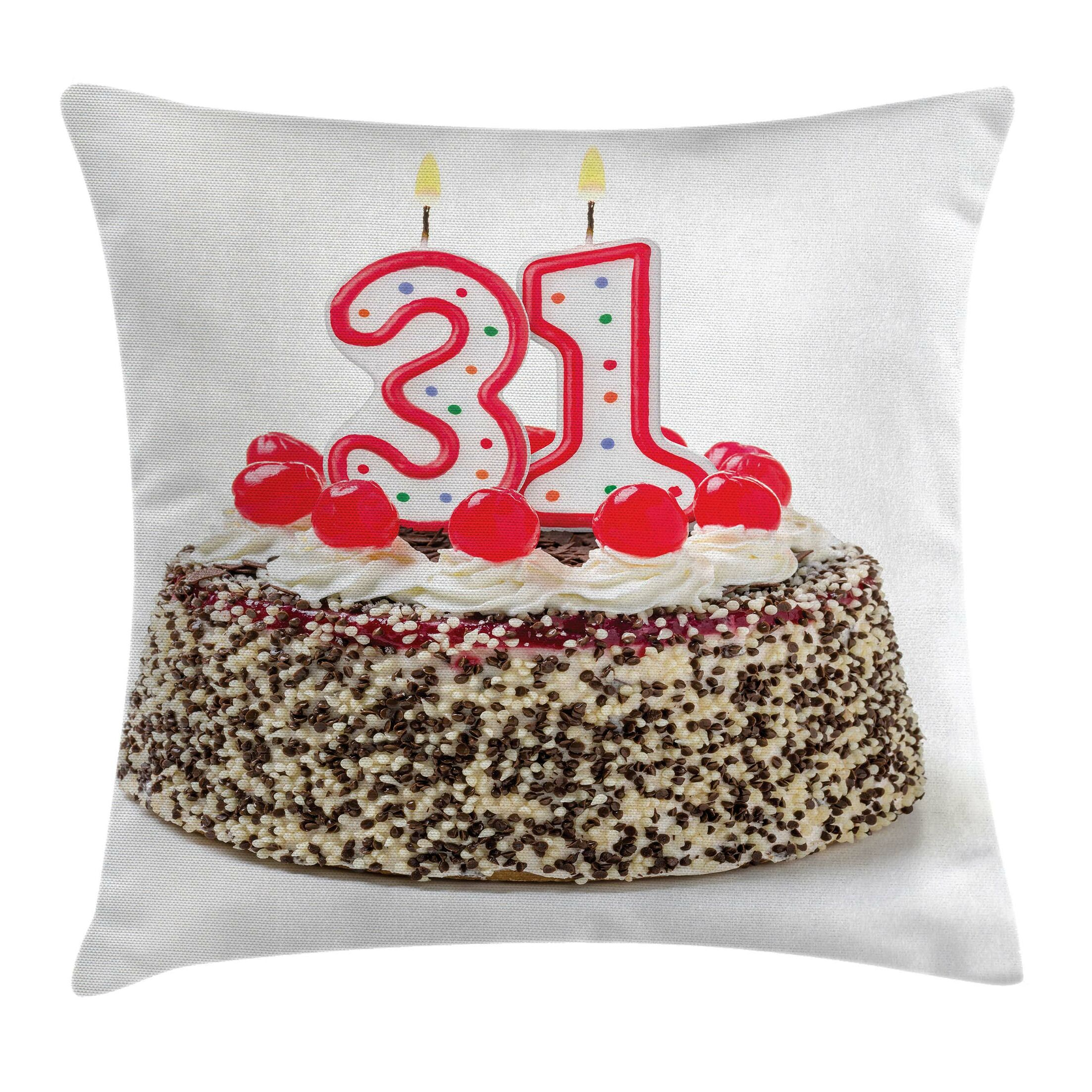 Party Cake Thirty One Candles Square Pillow Cover Size: 20