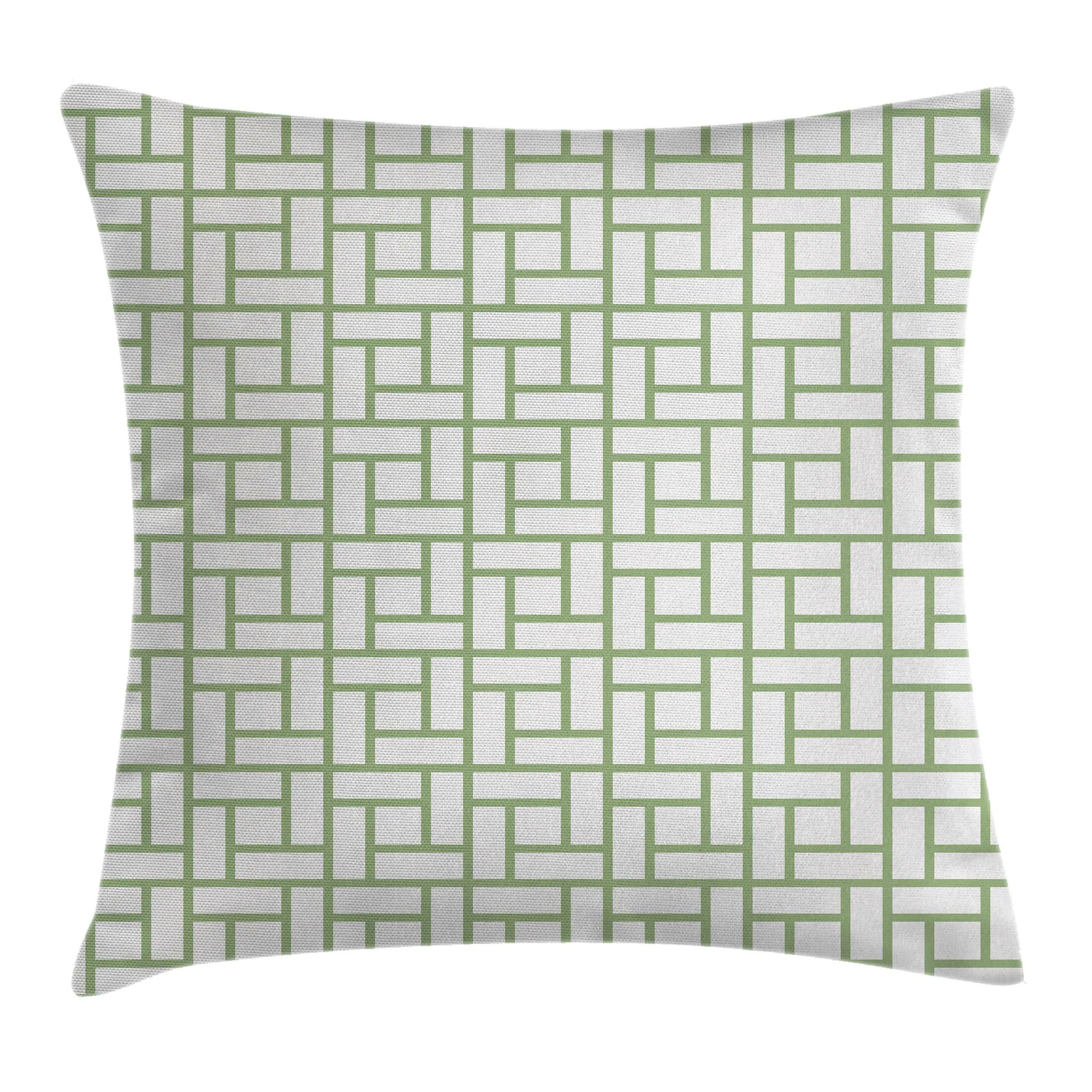 Maze Shaped Squares Lines Pillow Cover Size: 18