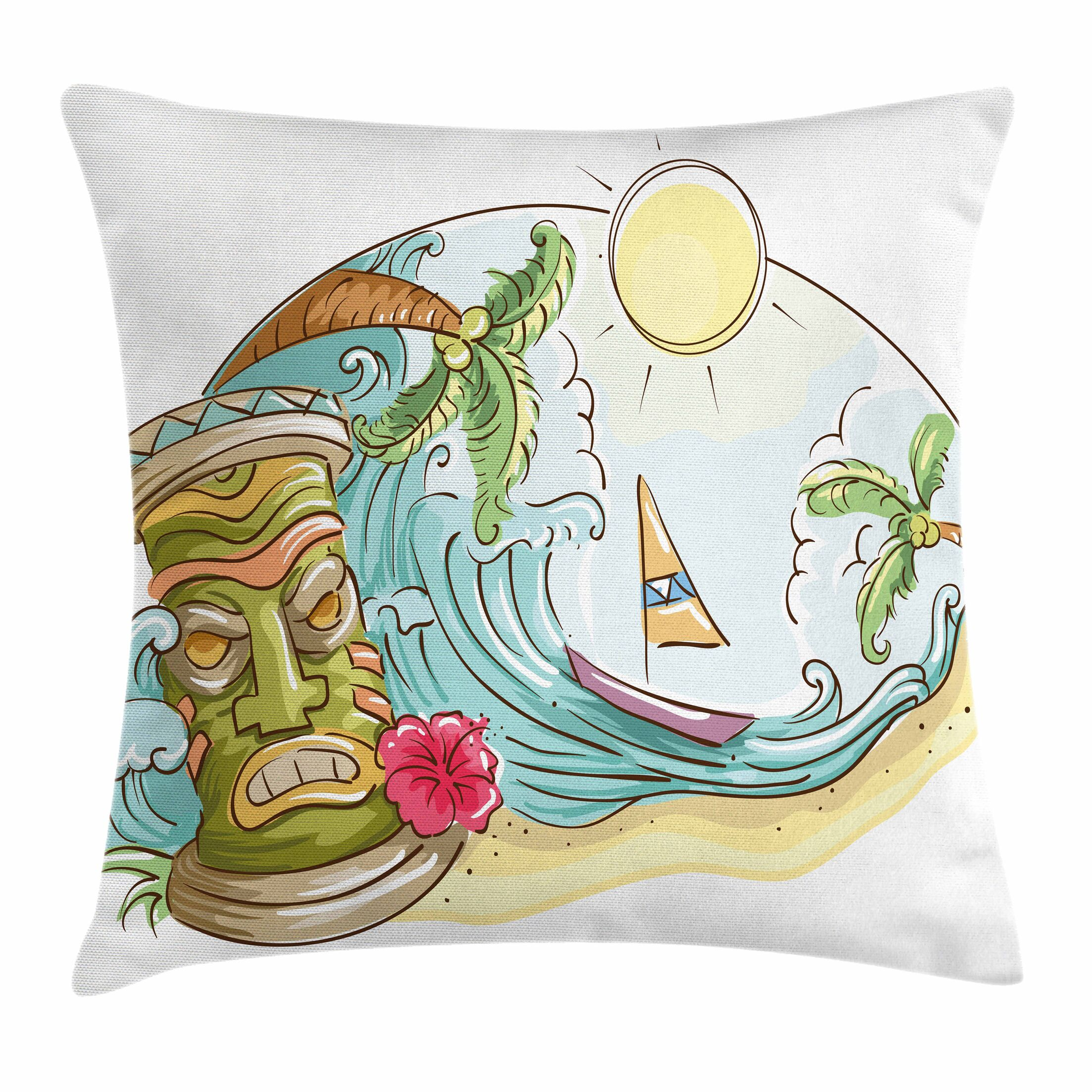 Tiki Bar Decor Cartoon Beach Square Pillow Cover Size: 18