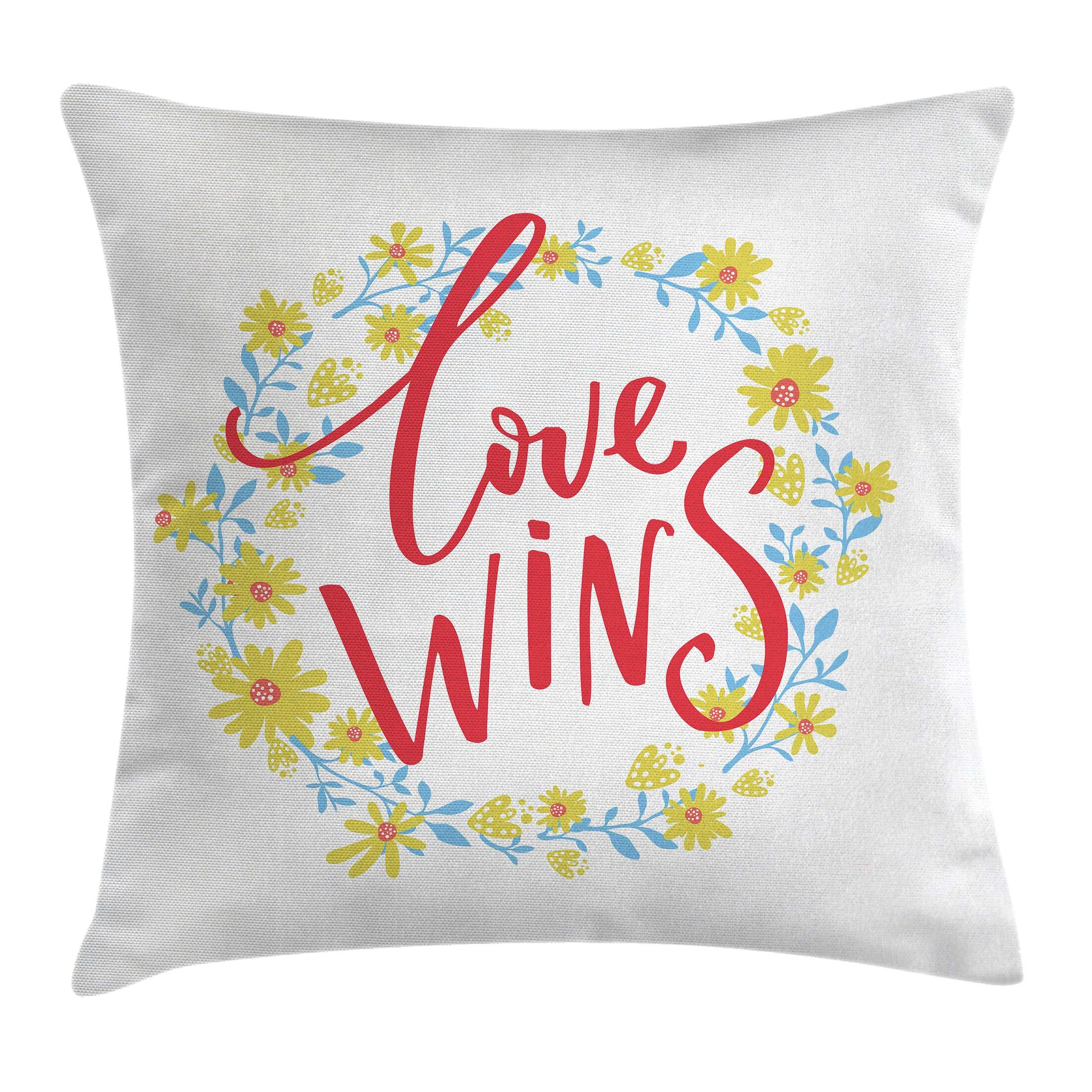 Quote Love Wins Floral Wreath Pillow Cover Size: 20