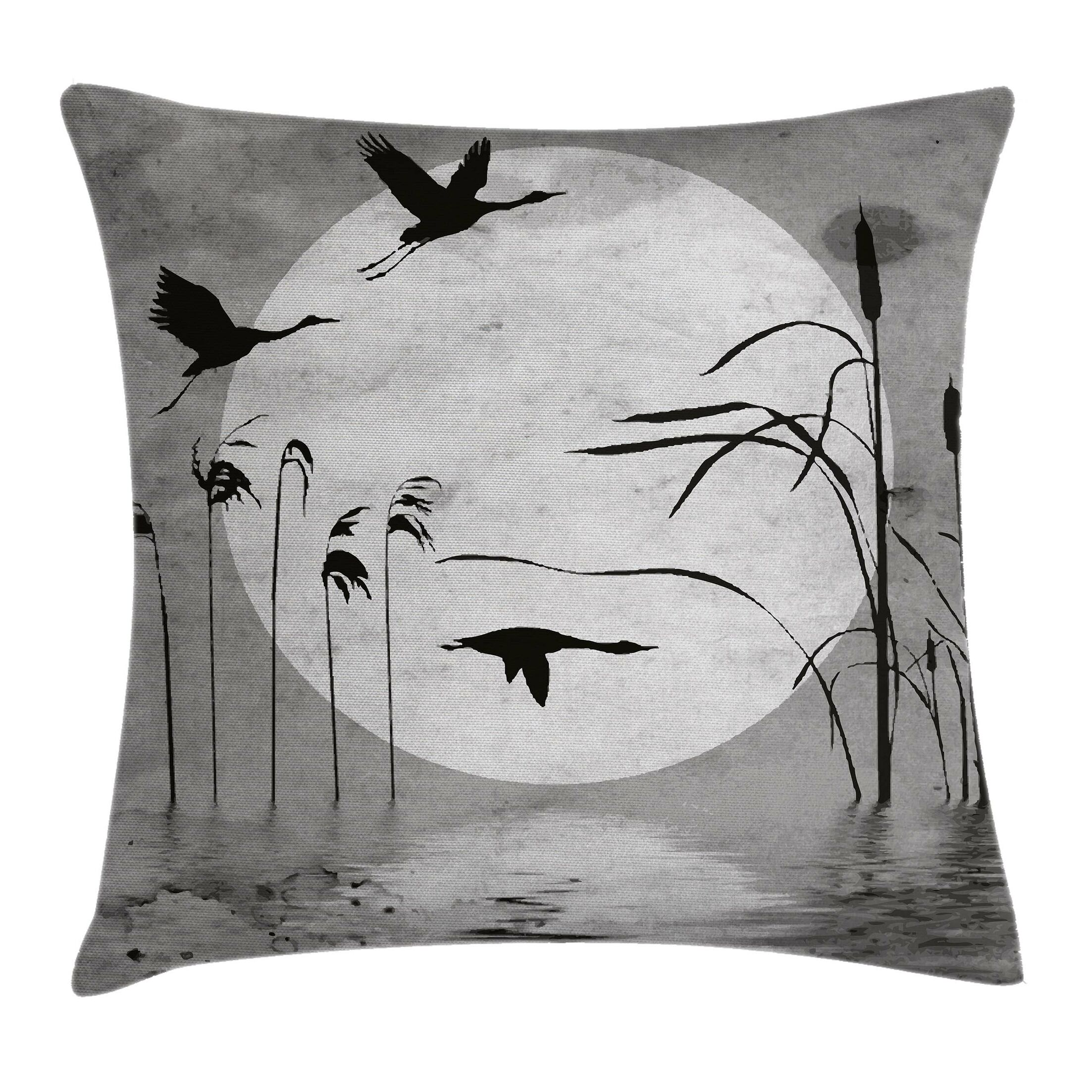 Grunge Heron Birds Pillow Cover Size: 24