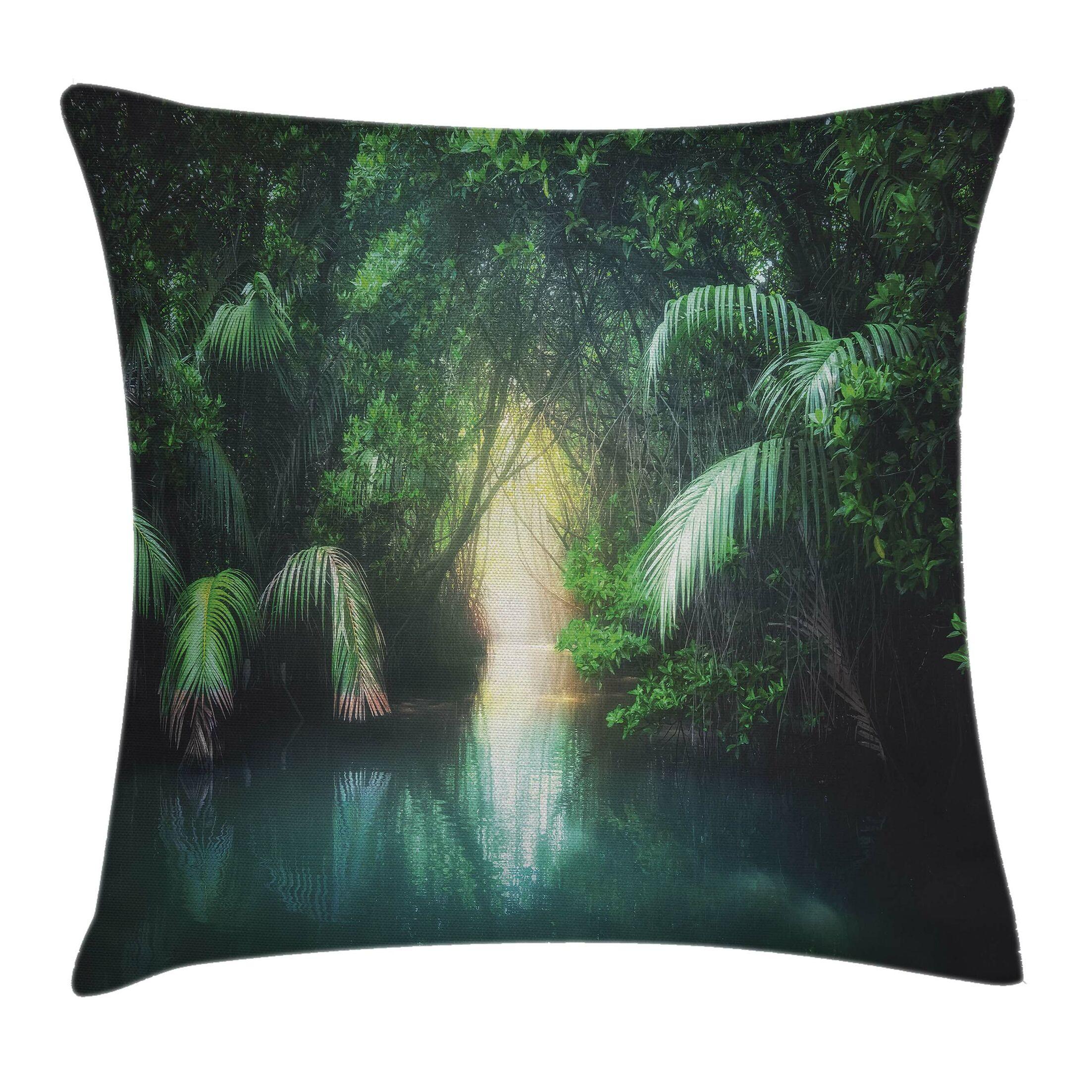 Jungle Mangrove Rainforest Lake Pillow Cover Size: 24