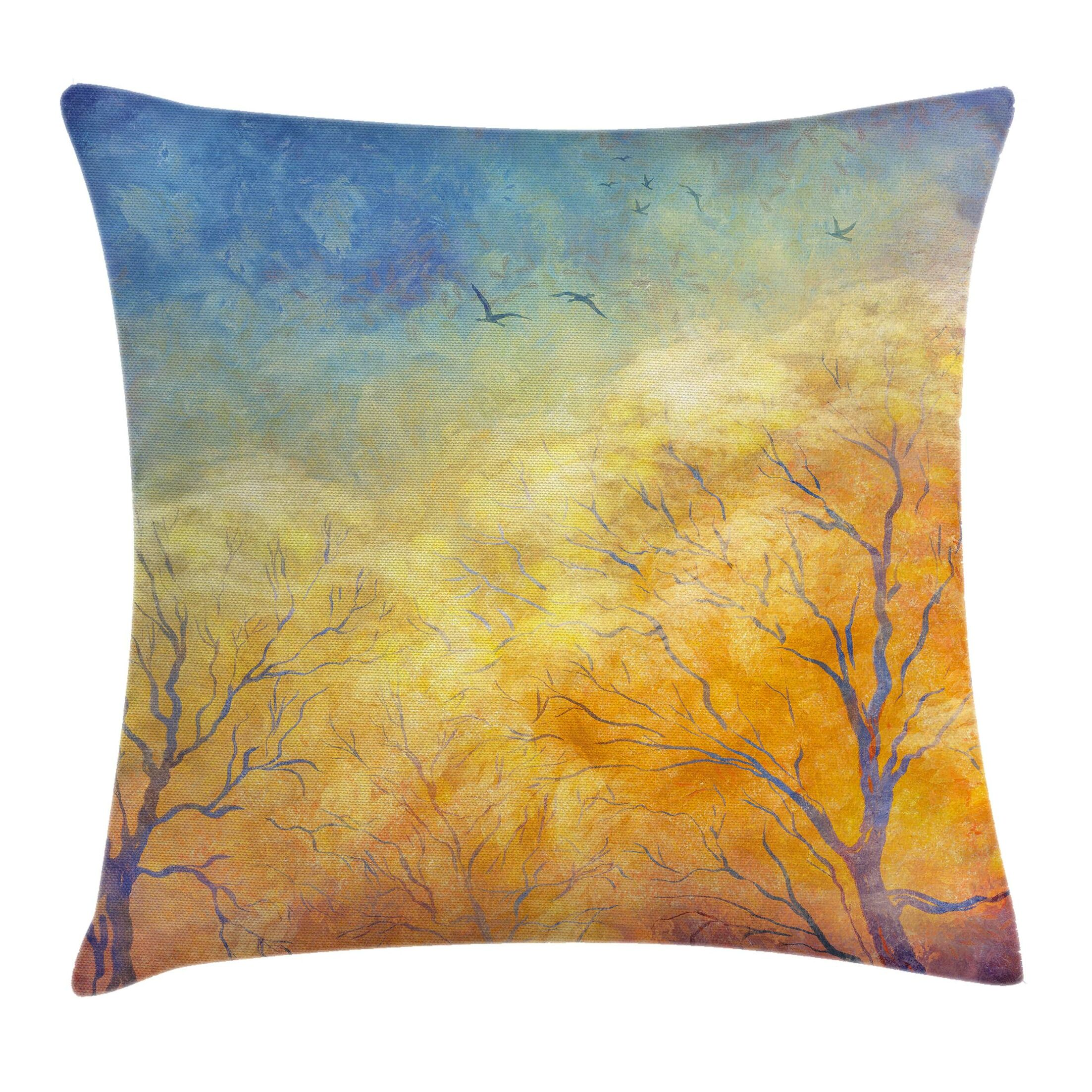 Nature Autumn Trees Gulls Sky Pillow Cover Size: 18