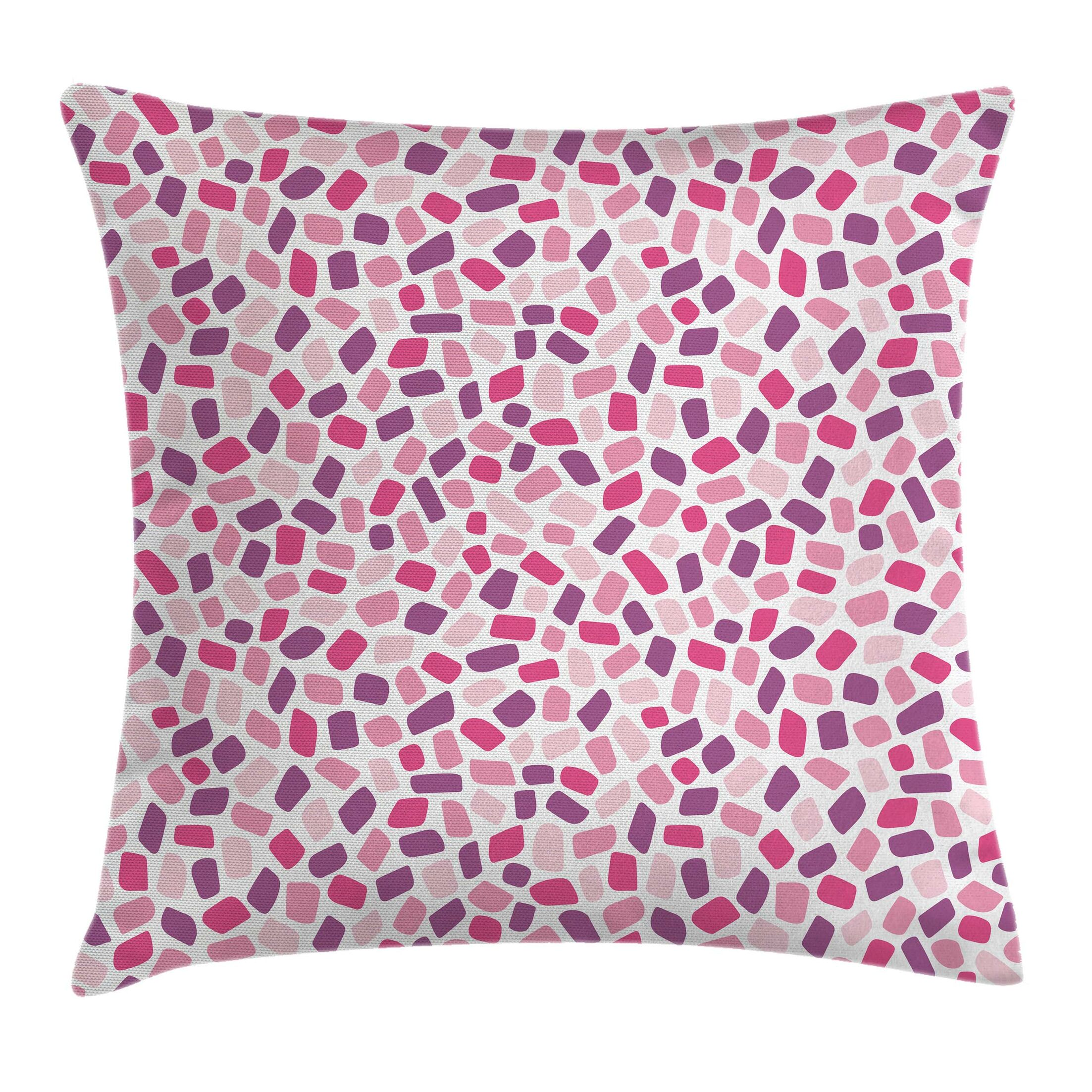 Abstract Colored Polygon Mosaic Pillow Cover Size: 20