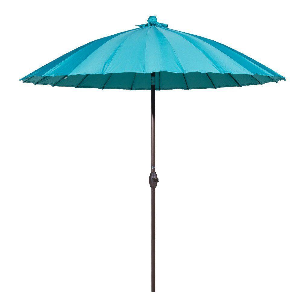 9' Parasol Patio Market Umbrella With Push Button Tilt And Crank Fabric: Blue