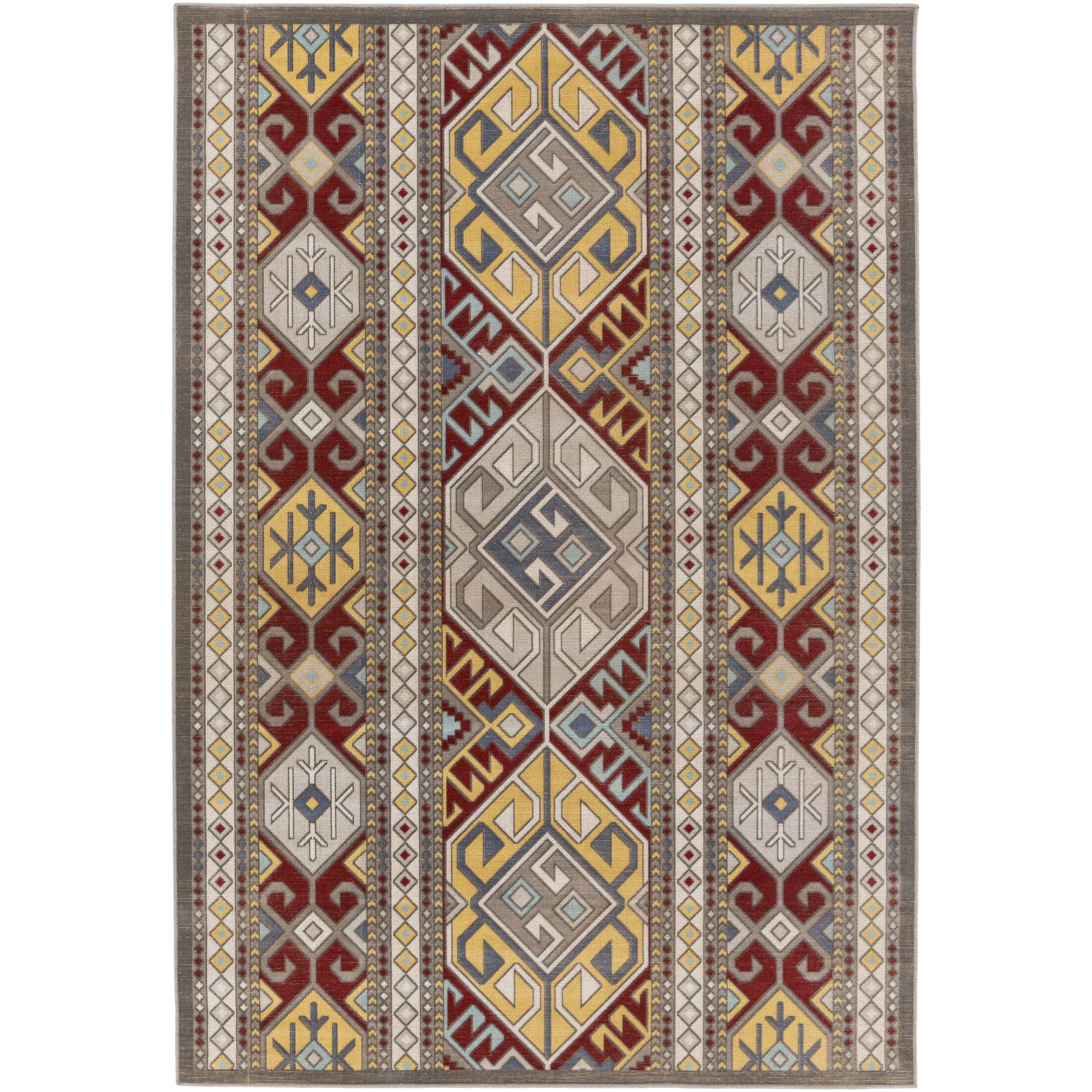 Septfontaines Gold/Burgundy Area Rug Rug Size: Rectangle 7'11