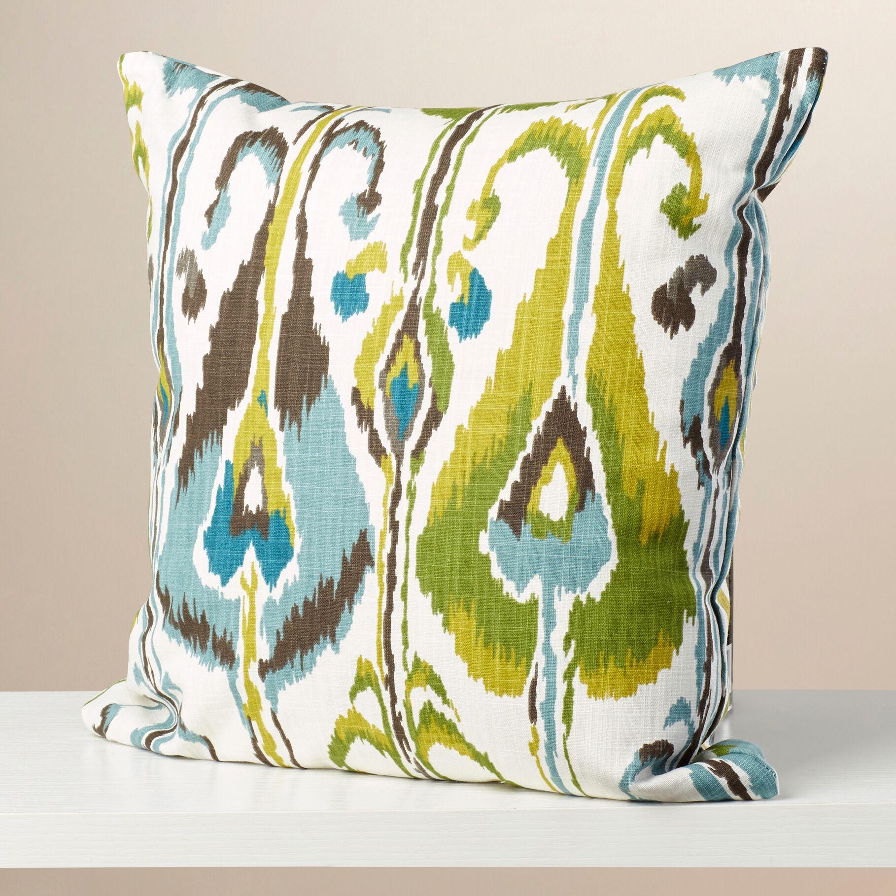 Deeanna Ikat Cotton Throw Pillow Color: Indigo, Size: 24