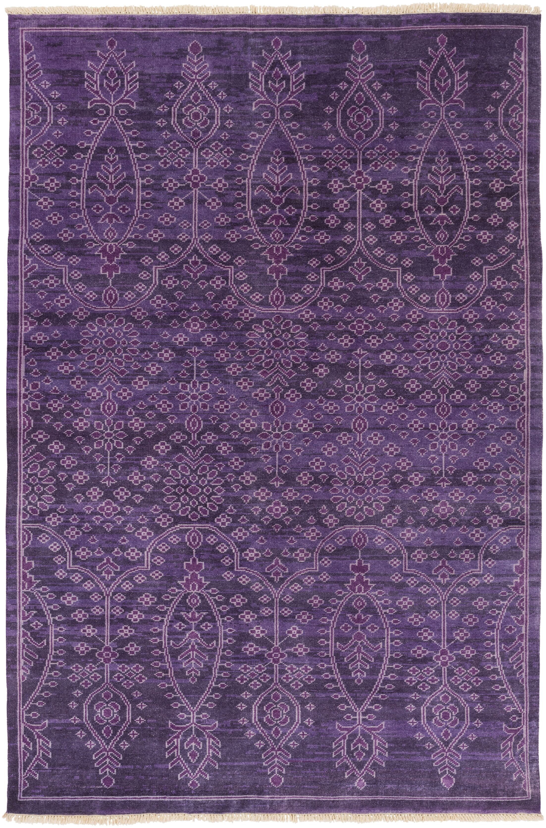 Heerlen Hand-Knotted Purple Area Rug Rug Size: Rectangle 5'6